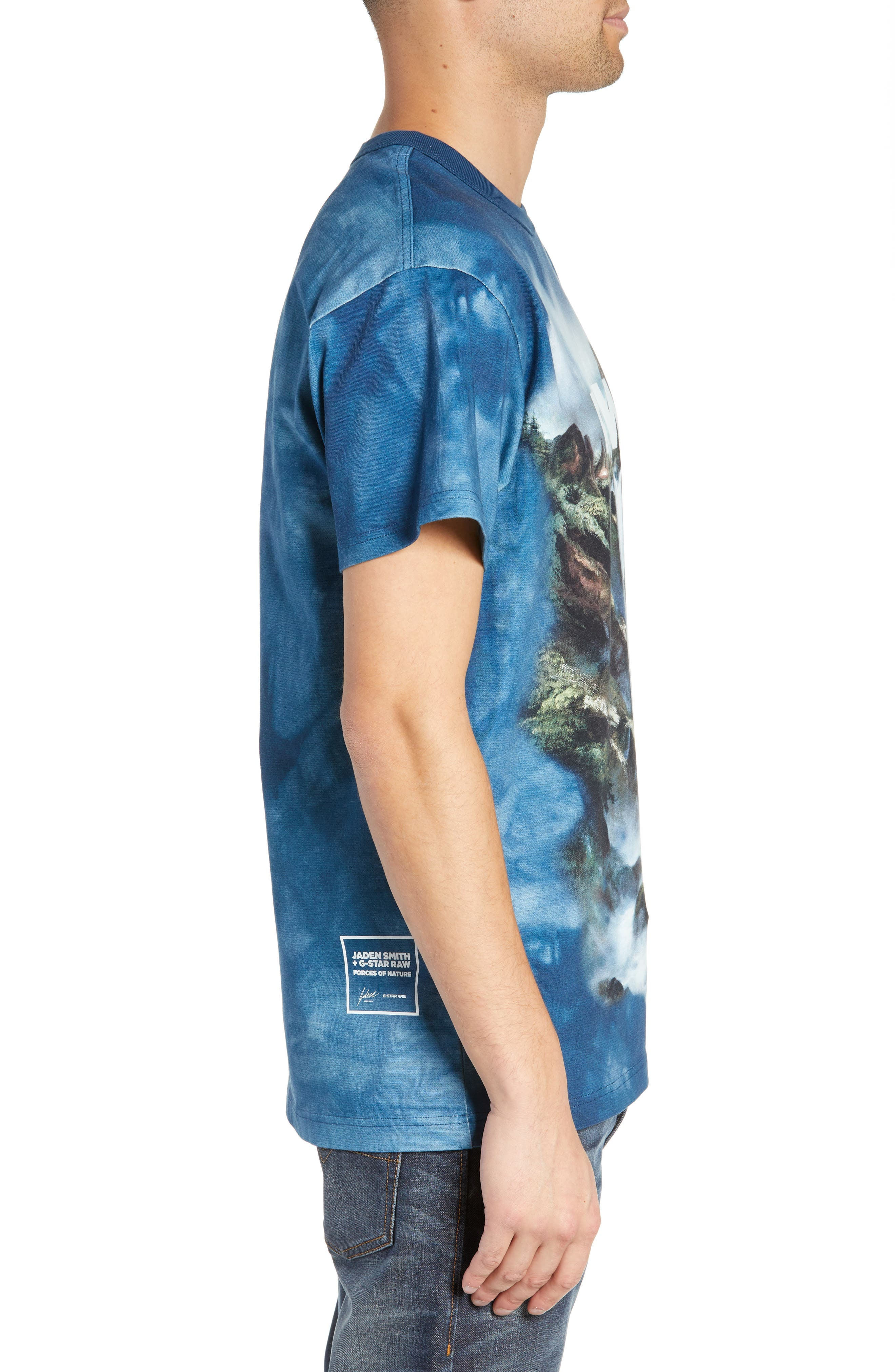 G-Star Cyrer Waterfall Loose T-Shirt,                             Alternate thumbnail 3, color,                             TEAL BLUE