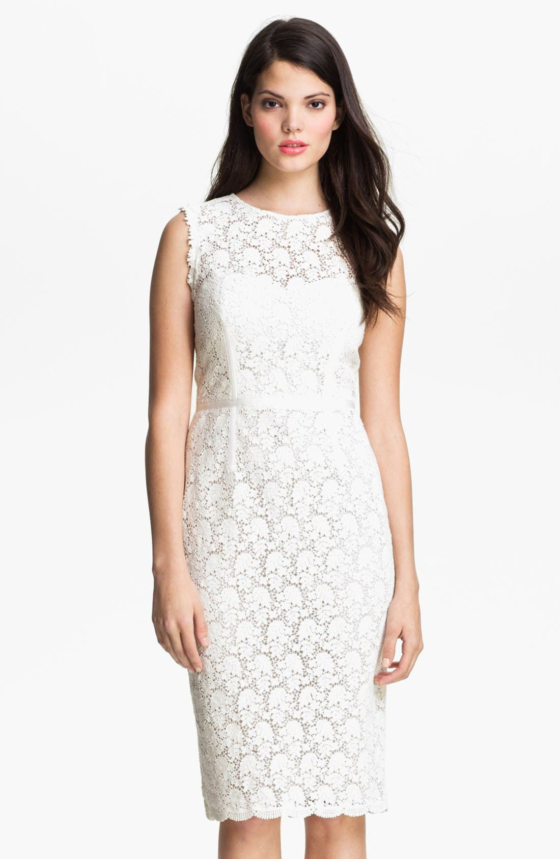 Illusion Yoke Lace Sheath Dress,                             Main thumbnail 1, color,