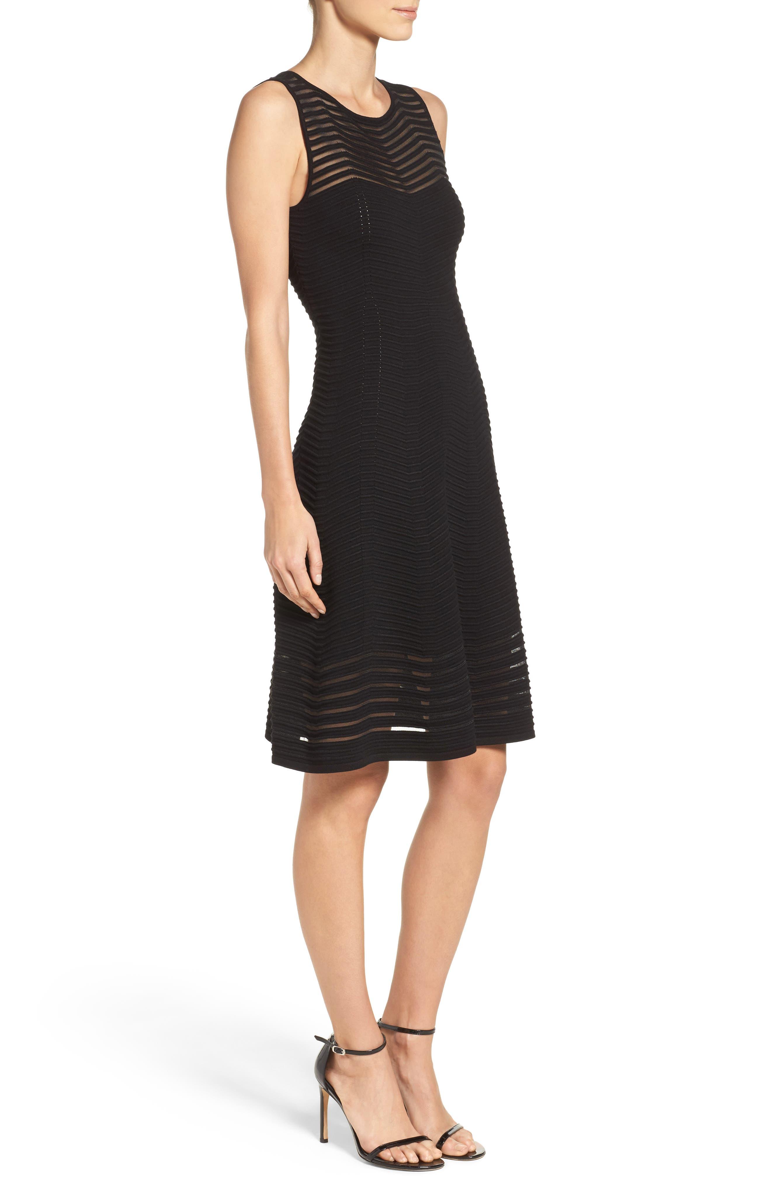 Chevron Fit & Flare Dress,                             Alternate thumbnail 3, color,                             001