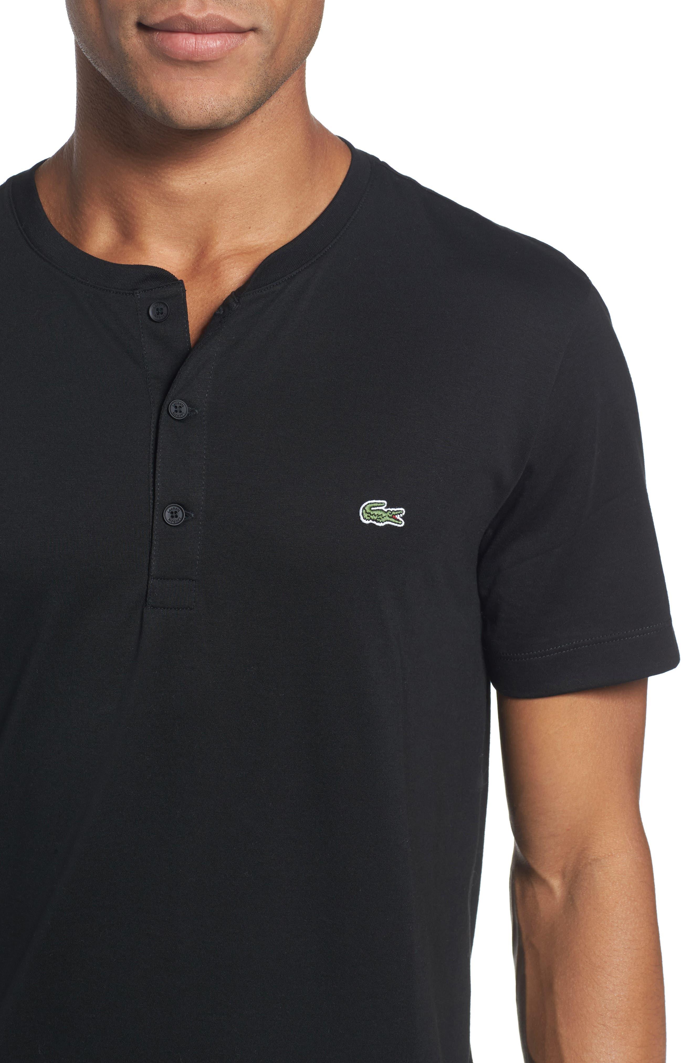 Henley T-Shirt,                             Alternate thumbnail 4, color,                             BLACK