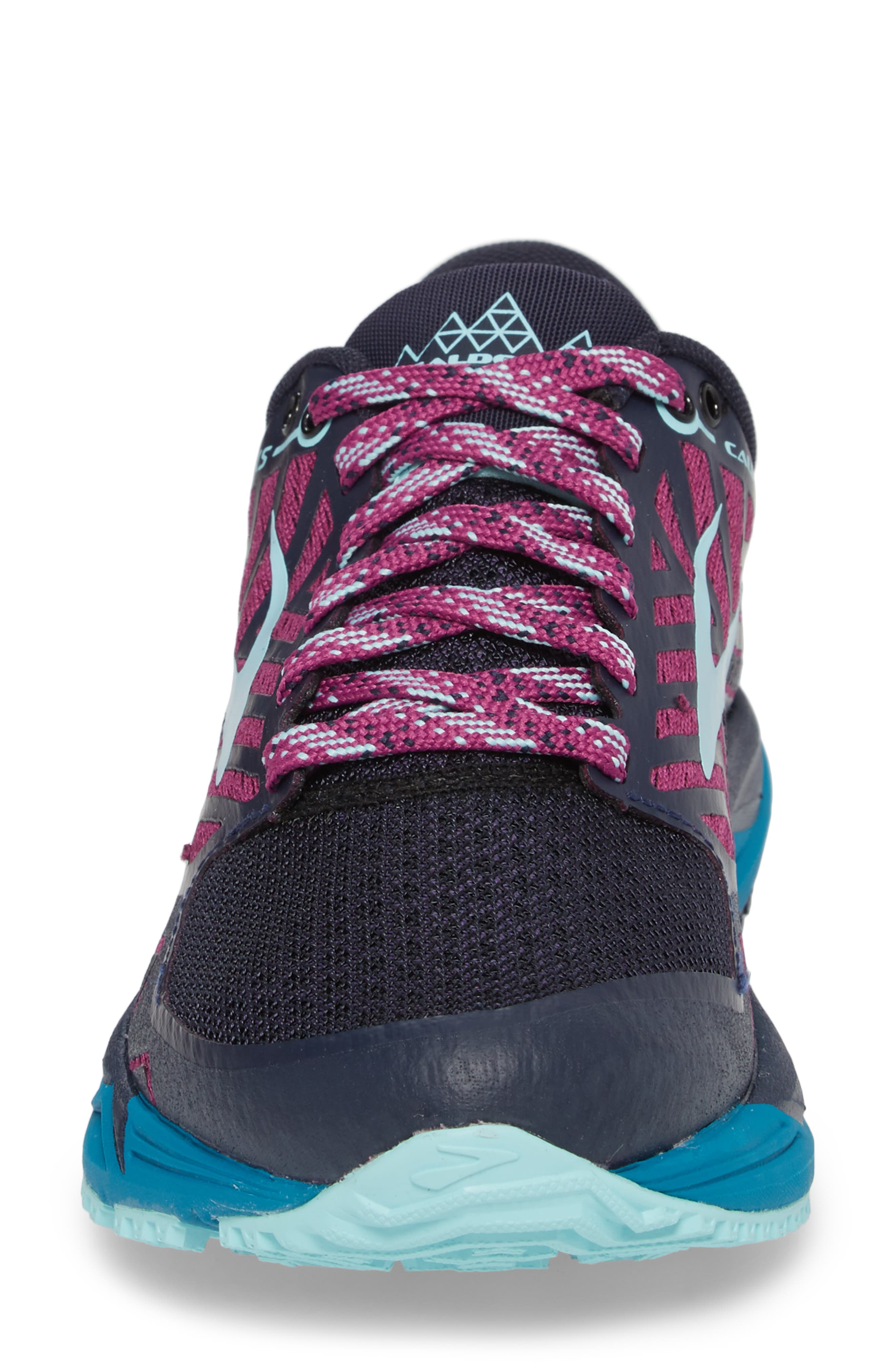 Caldera 2 Trail Running Shoe,                             Alternate thumbnail 4, color,                             NAVY/ PLUM/ ICE BLUE