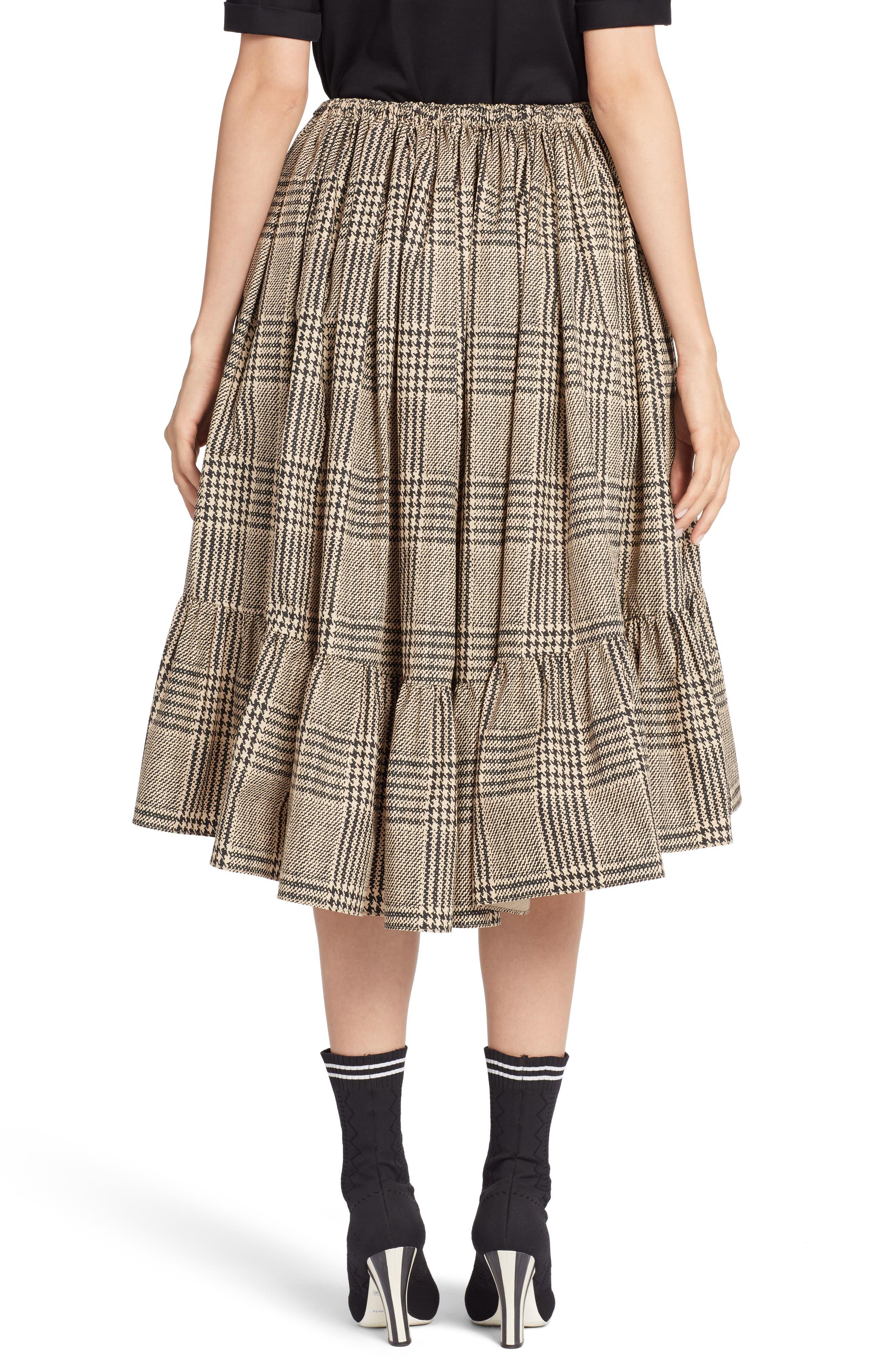 Prince of Wales Ruffle Midi Skirt,                             Alternate thumbnail 2, color,                             001