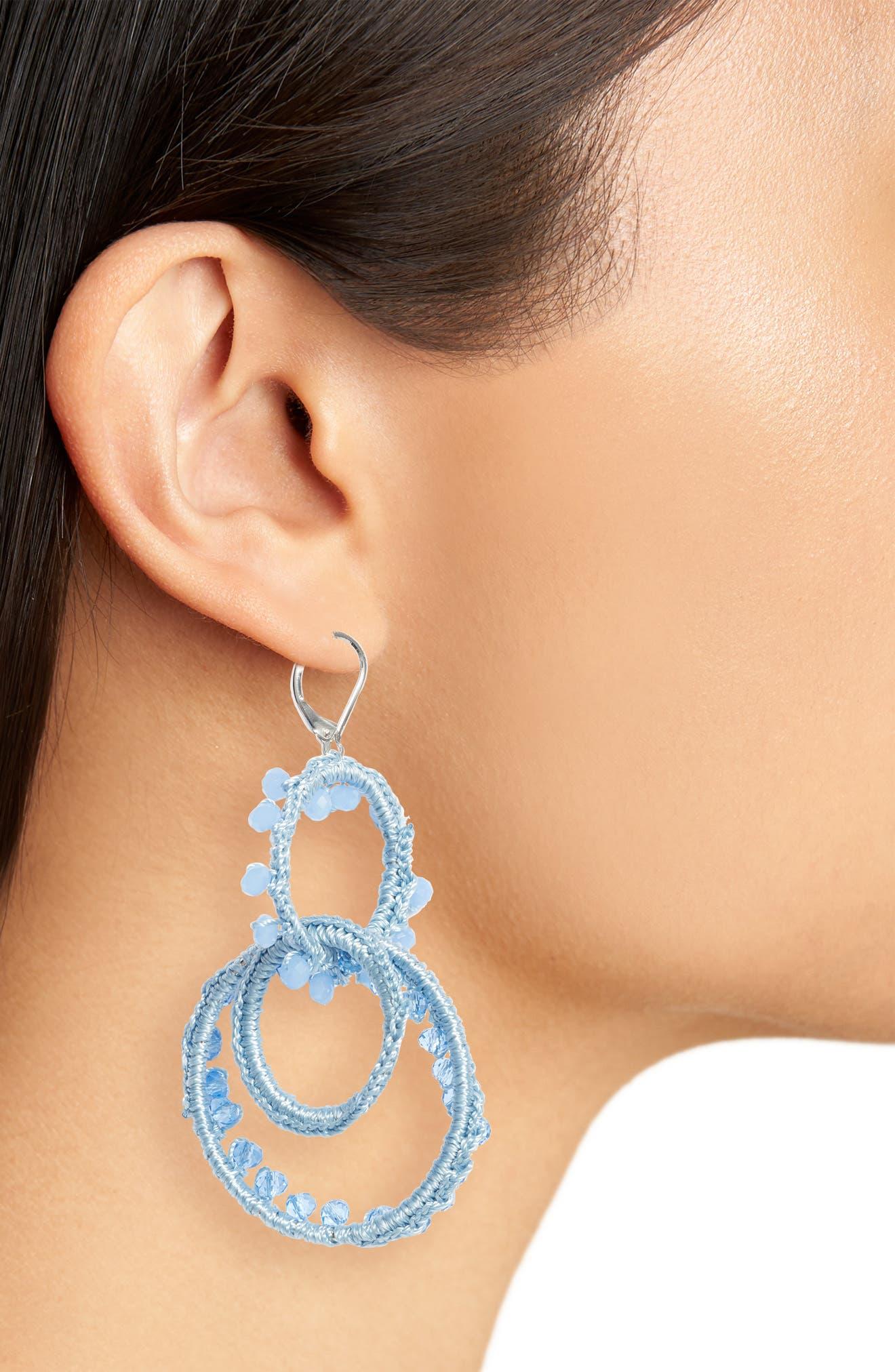 Thread Wrapped Interlocking Hoop Earrings,                             Alternate thumbnail 3, color,