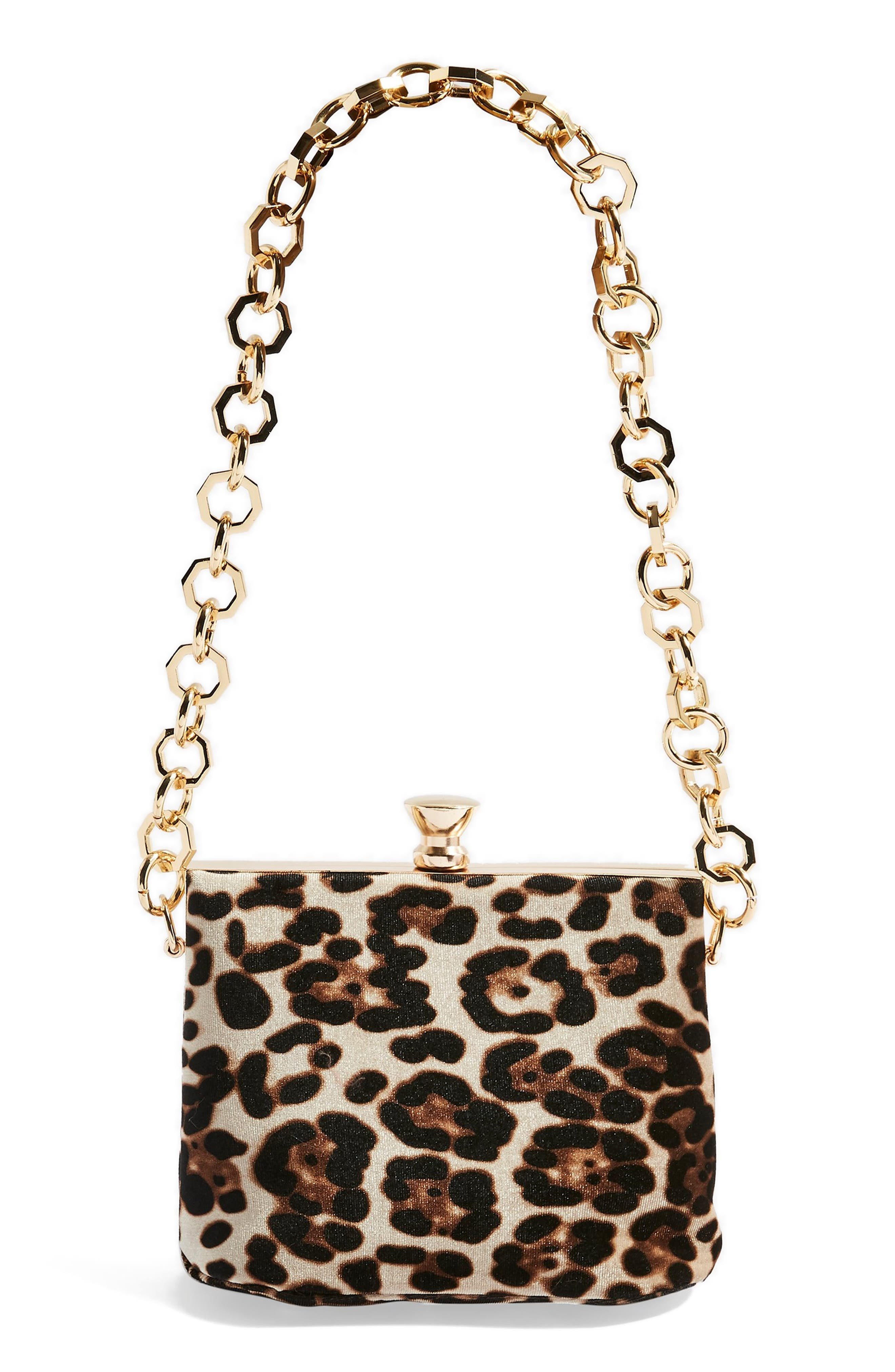 TOPSHOP,                             Margot Shoulder Bag,                             Main thumbnail 1, color,                             LEOPARD