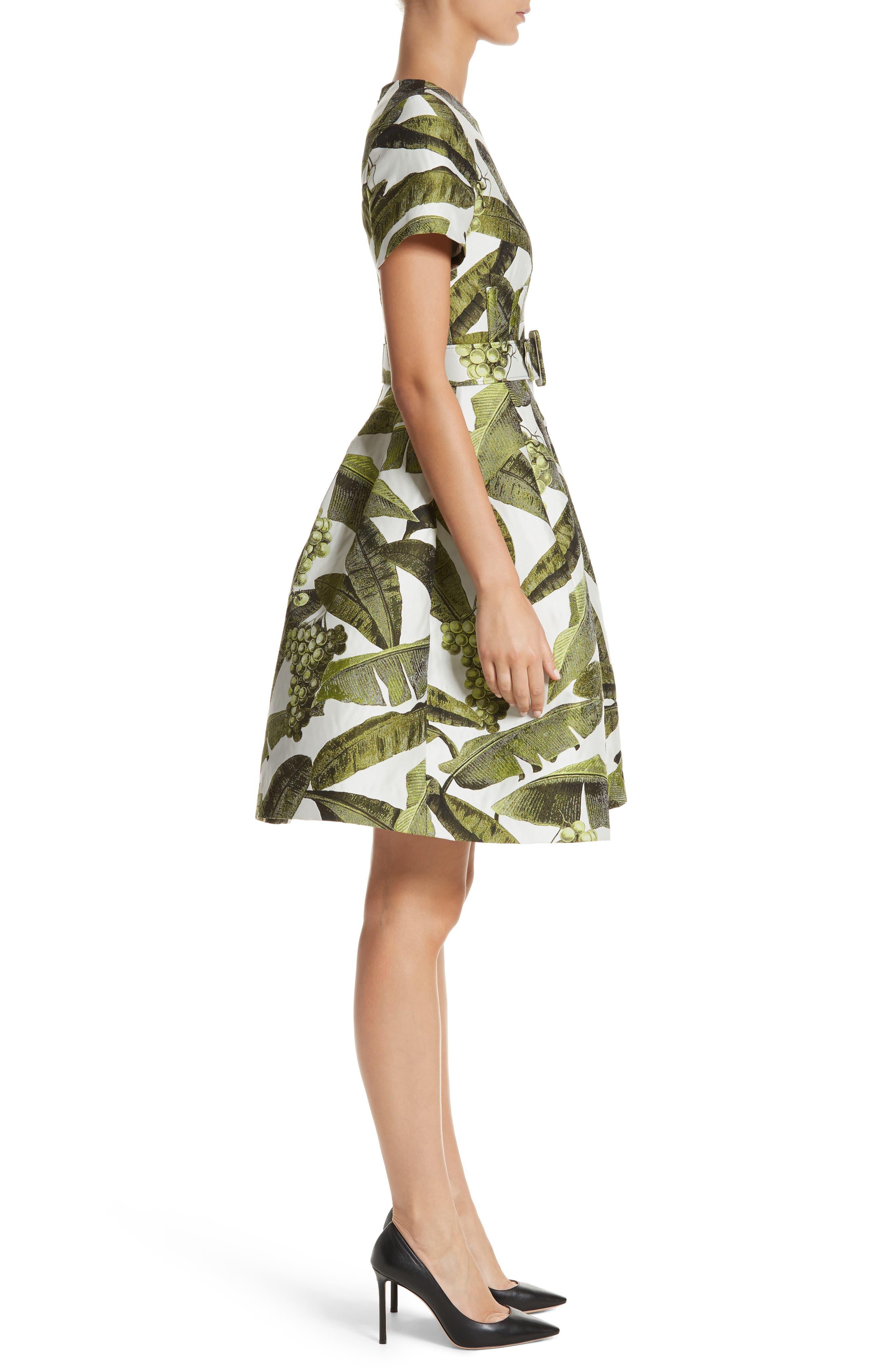 Leaf Jacquard Dress,                             Alternate thumbnail 3, color,                             300