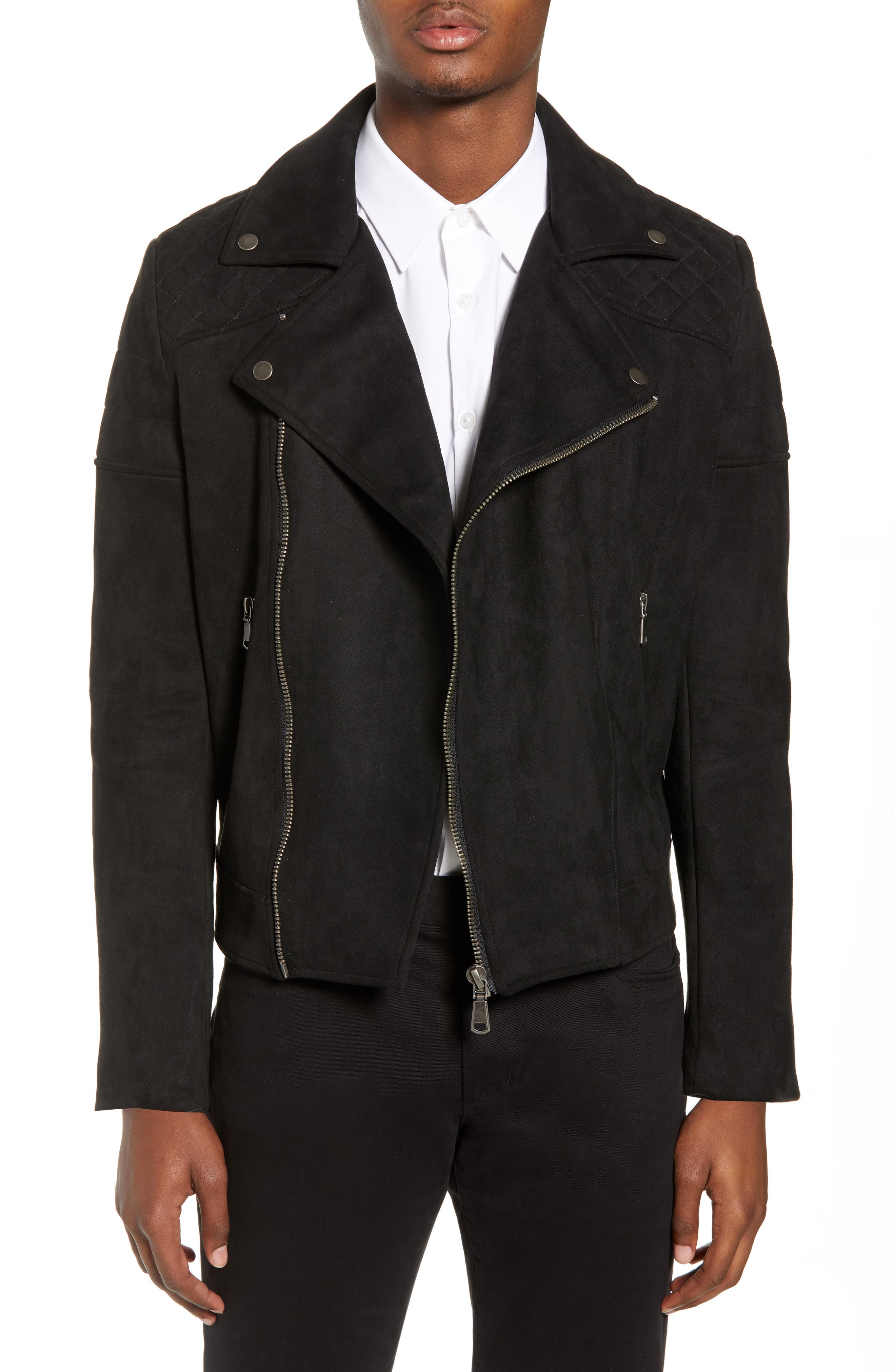 Faux Suede Biker Jacket,                         Main,                         color, BLACK