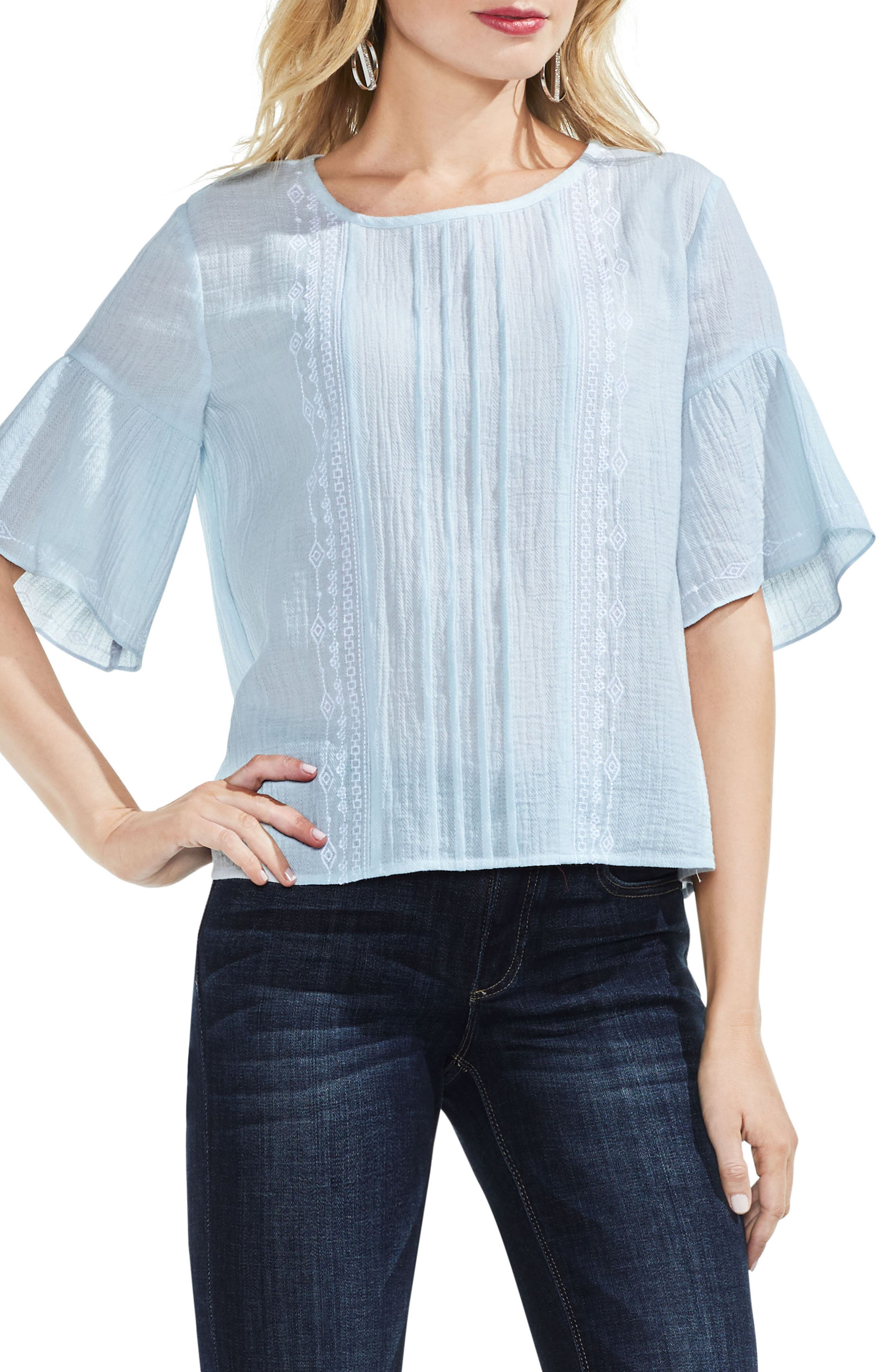 Embroidered Crinkle Cotton Top,                             Main thumbnail 2, color,