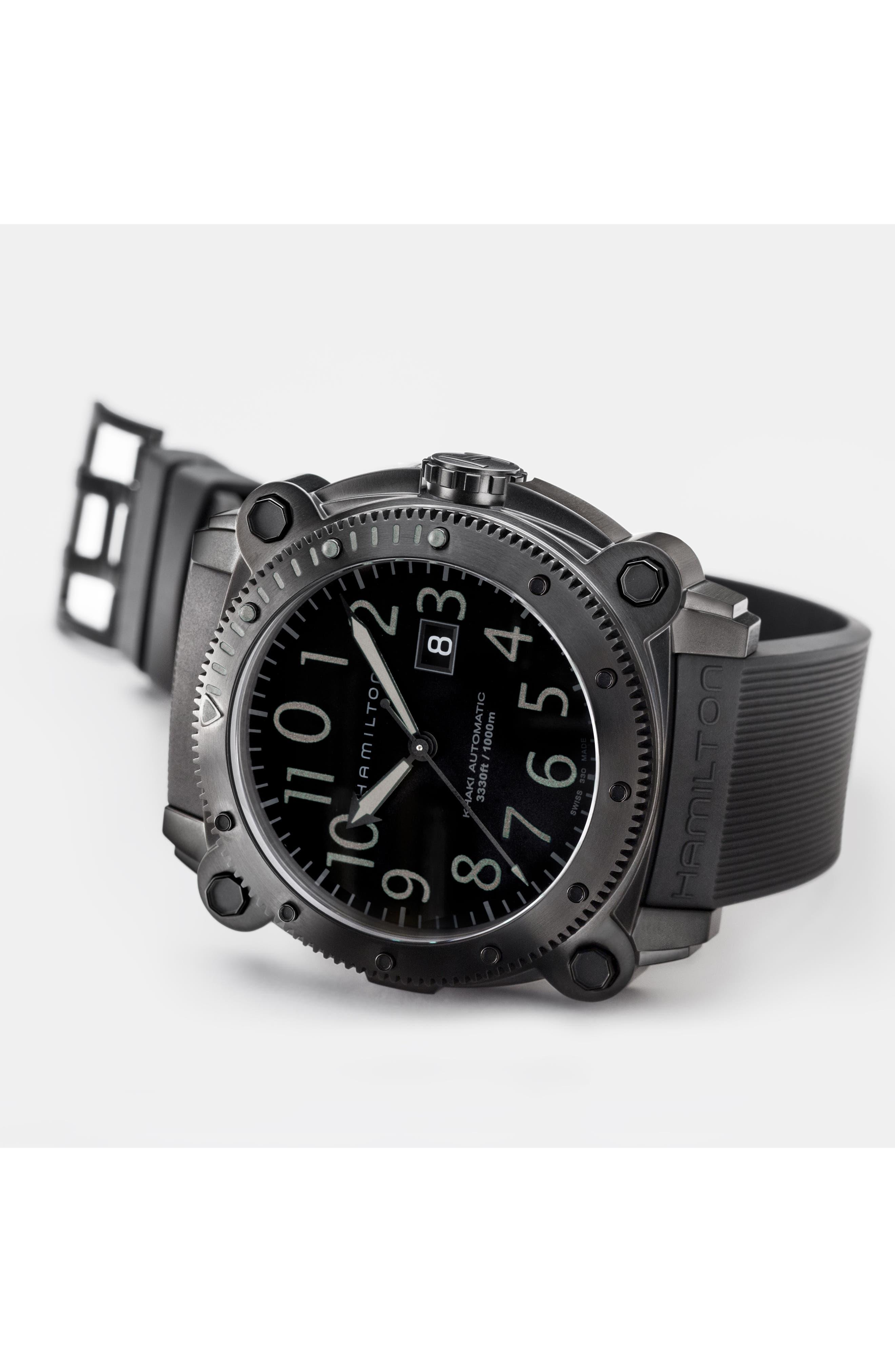 Khaki BelowZero Automatic Rubber Strap Watch, 46mm,                             Alternate thumbnail 4, color,                             BLACK
