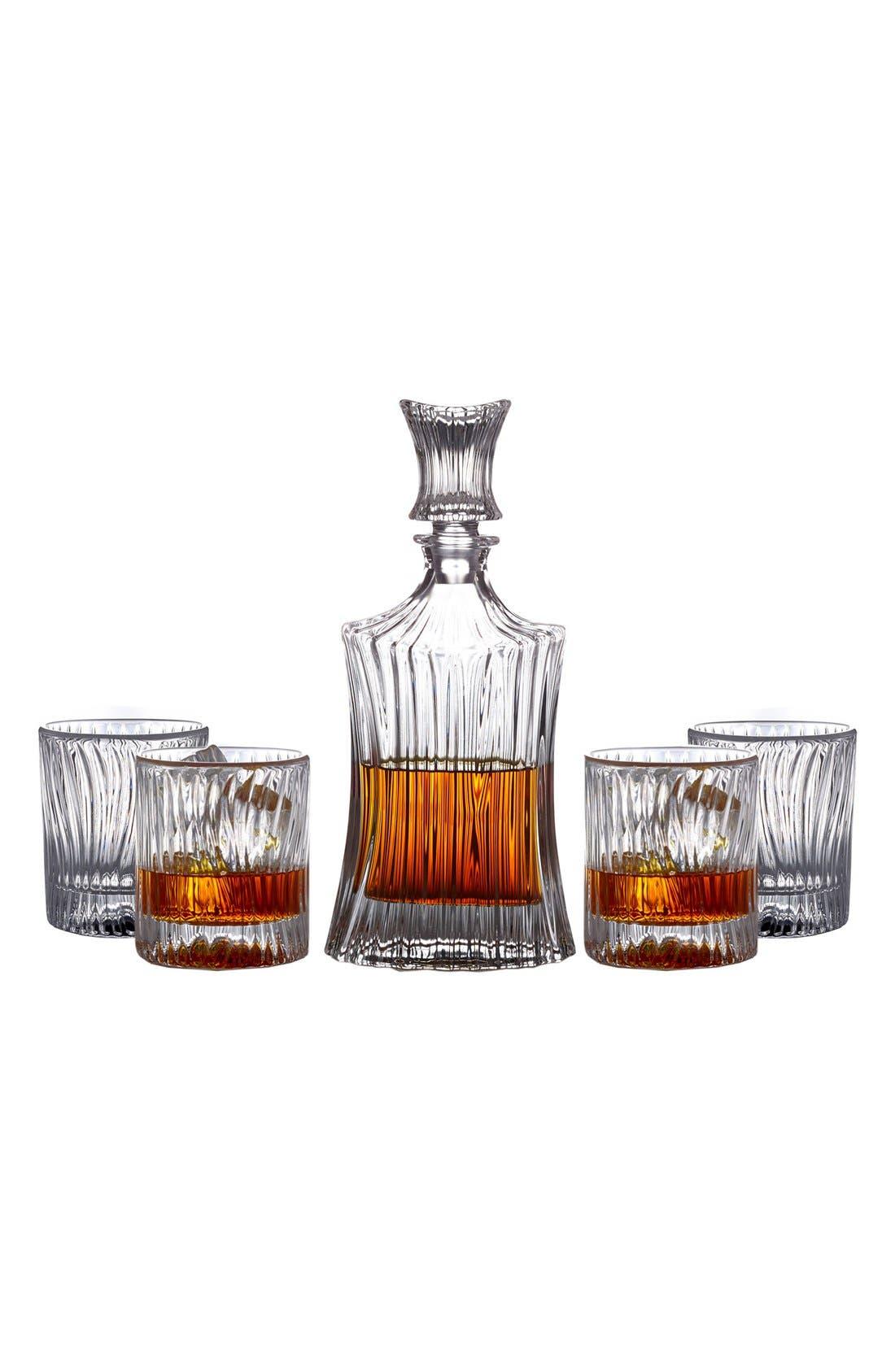 Augusta 5-Piece Decanter & Whiskey Glasses Set,                             Alternate thumbnail 4, color,