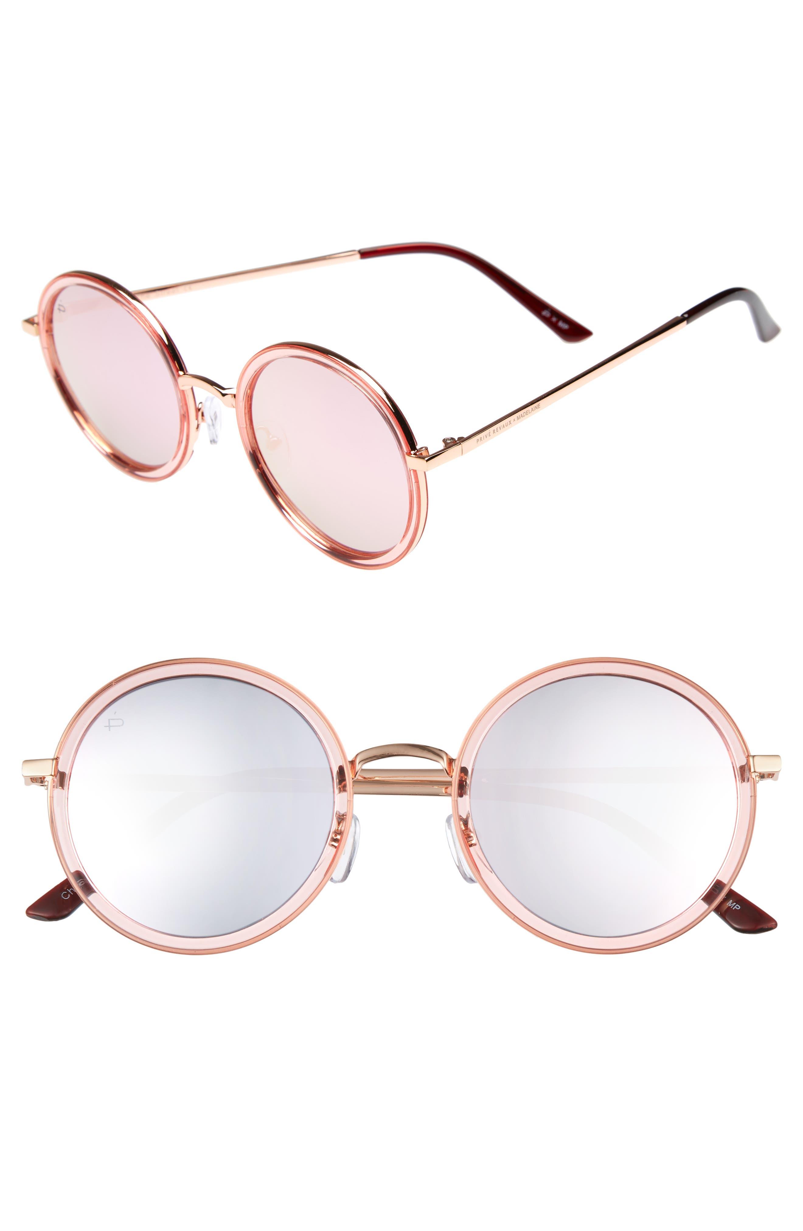 Privé Revaux x Madelaine Petsch The Street 53mm Round Sunglasses,                             Main thumbnail 2, color,