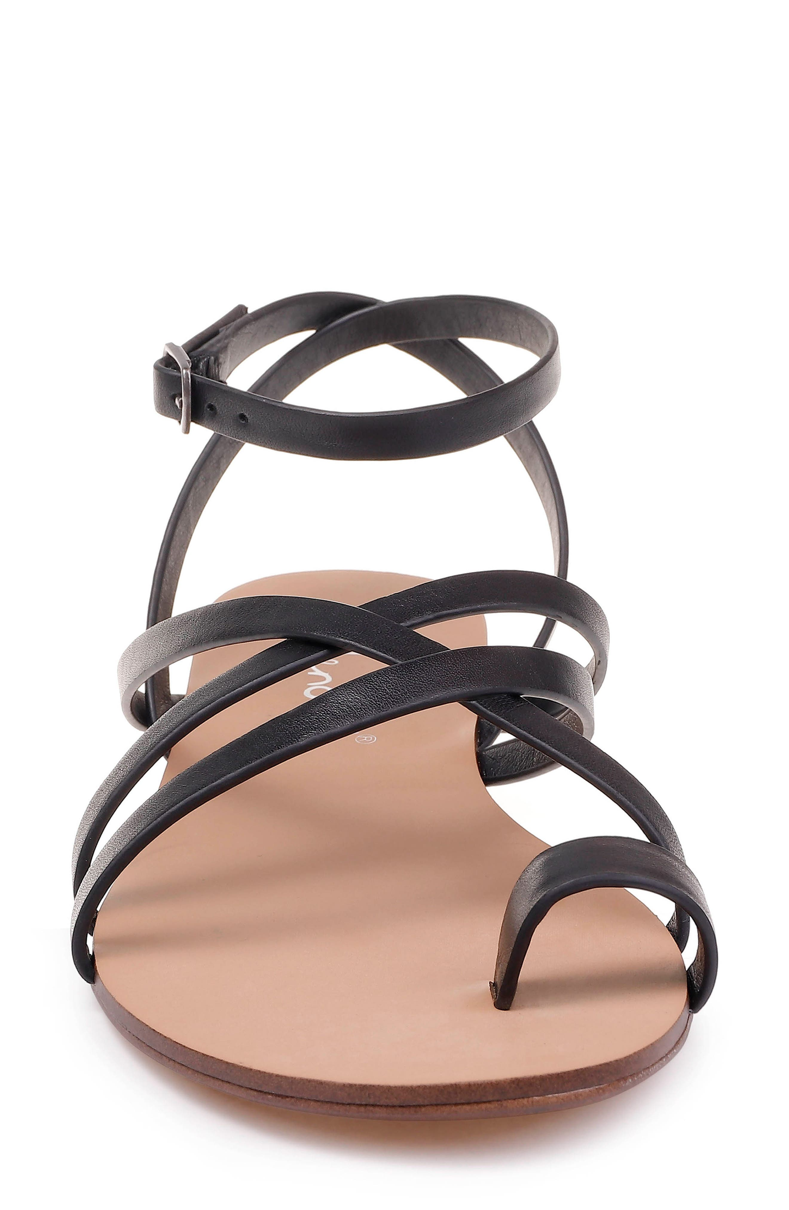 Sully Strappy Toe Loop Sandal,                             Alternate thumbnail 4, color,                             BLACK LEATHER
