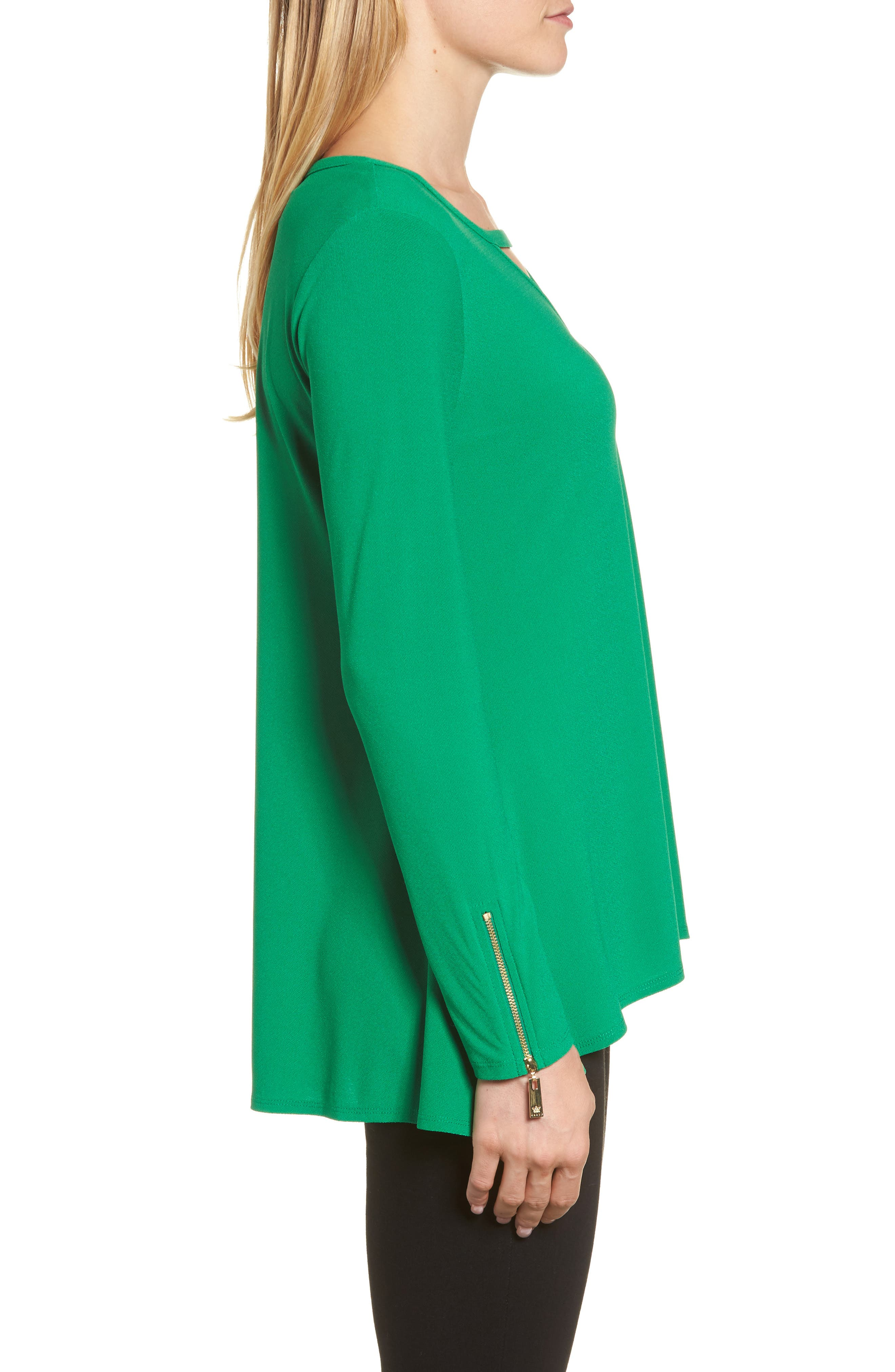 Zip Cuff Crepe Knit Top,                             Alternate thumbnail 3, color,