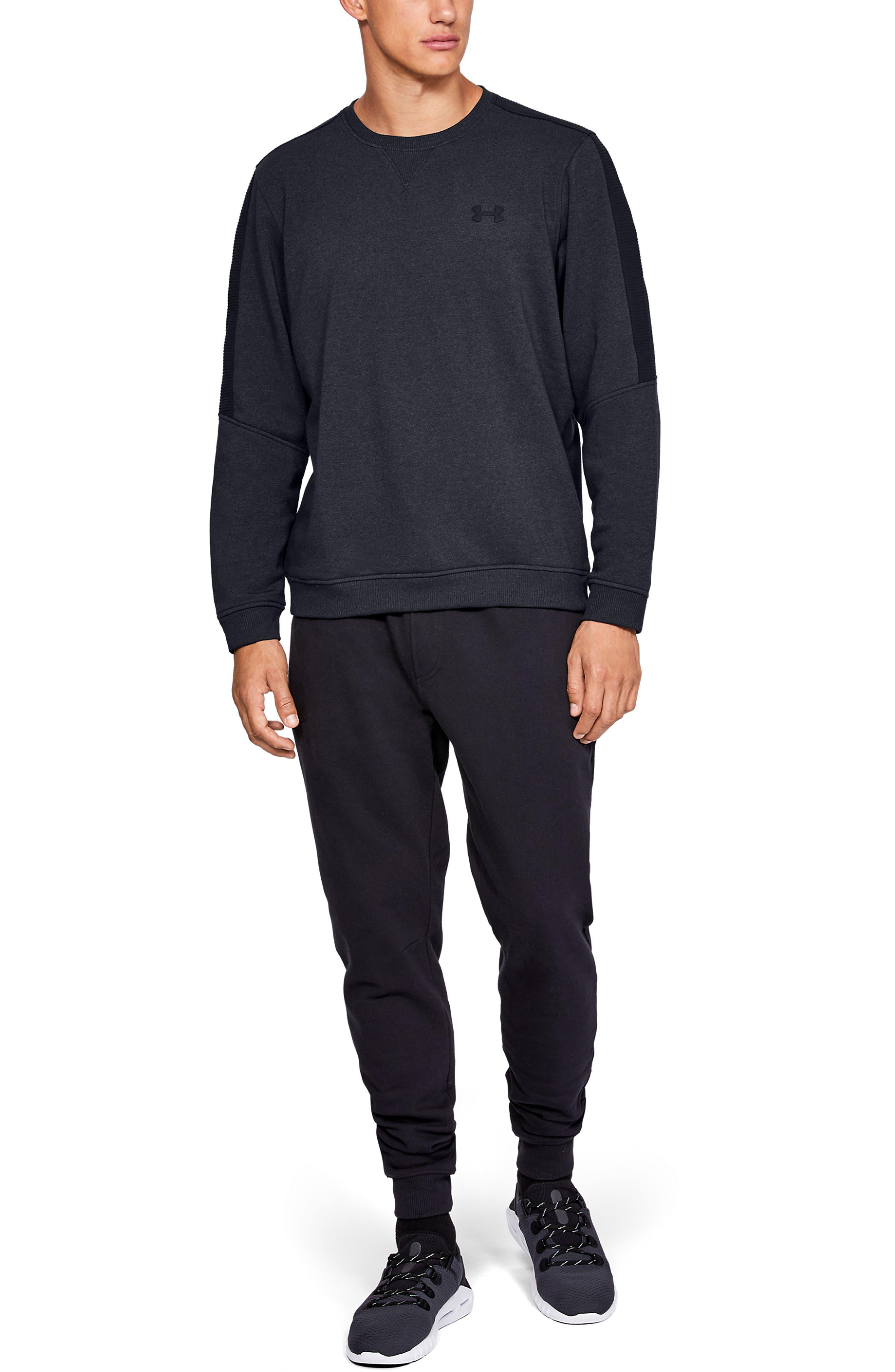 Threadborne Siro Fleece Crewneck Sweatshirt,                             Alternate thumbnail 5, color,                             BLACK/ BLACK/ BLACK