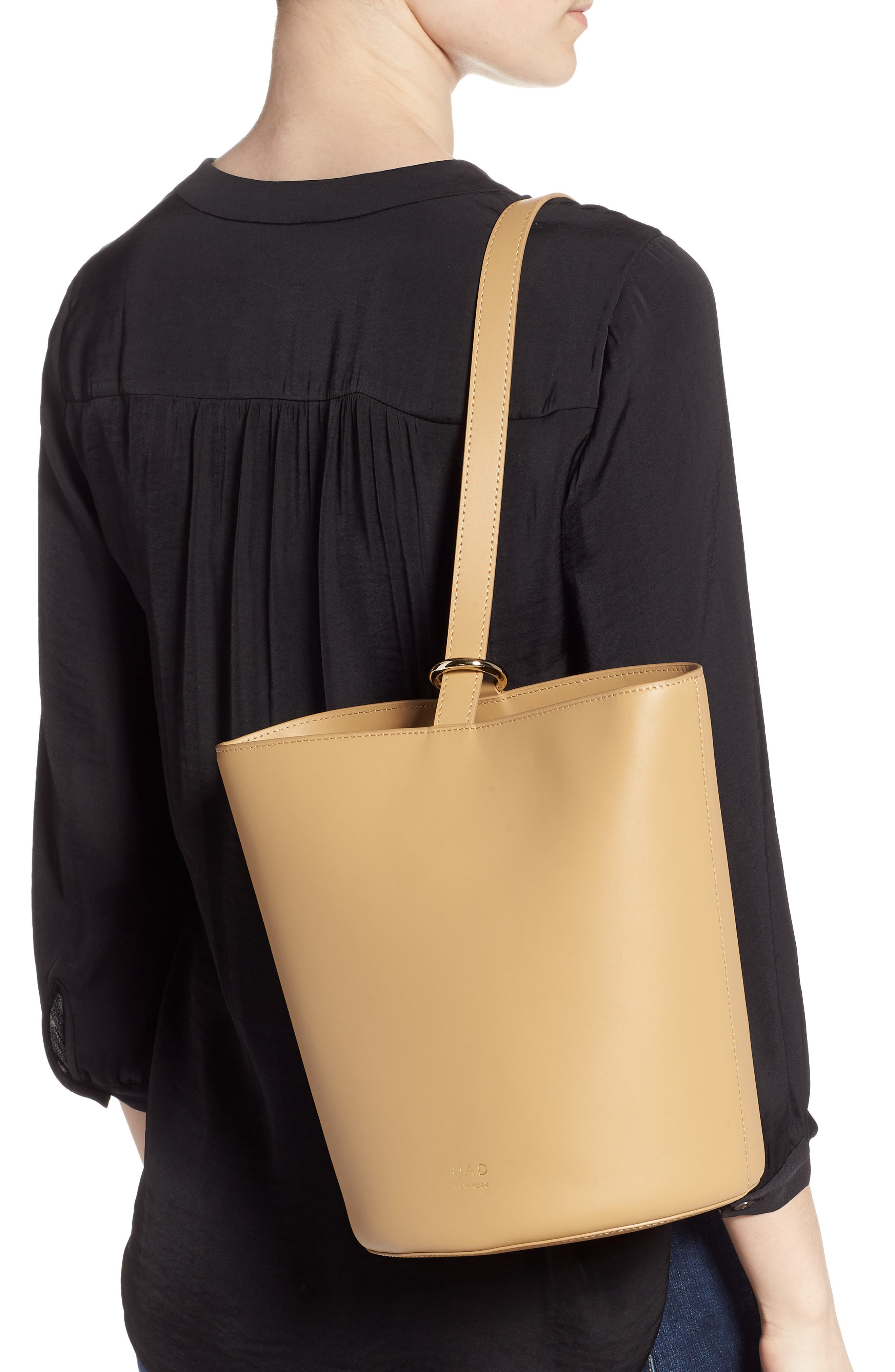 Dome Leather Bucket Bag,                             Alternate thumbnail 2, color,                             LIGHT CAMEL