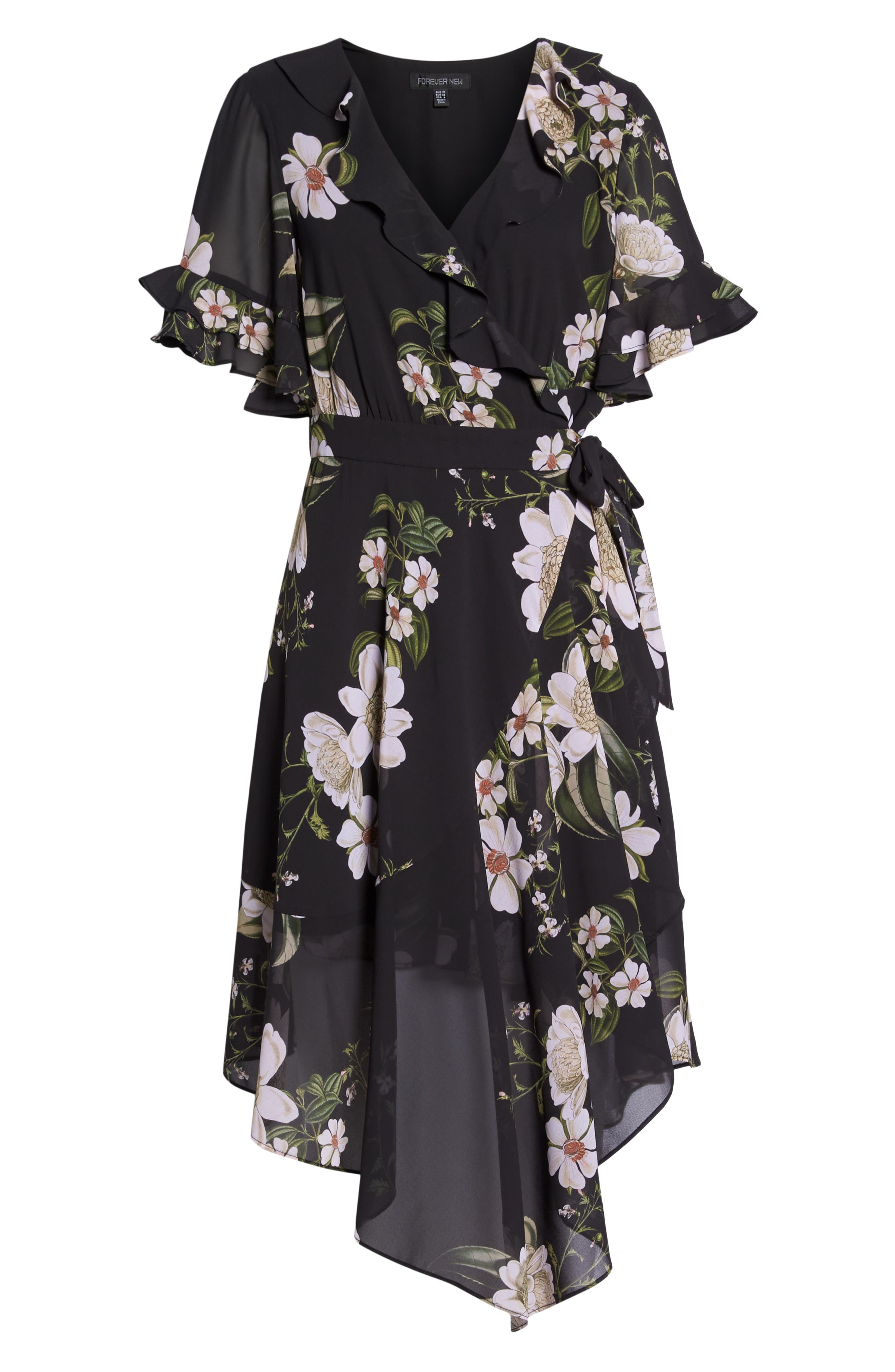 Floral Print Wrap Dress,                             Alternate thumbnail 7, color,                             001