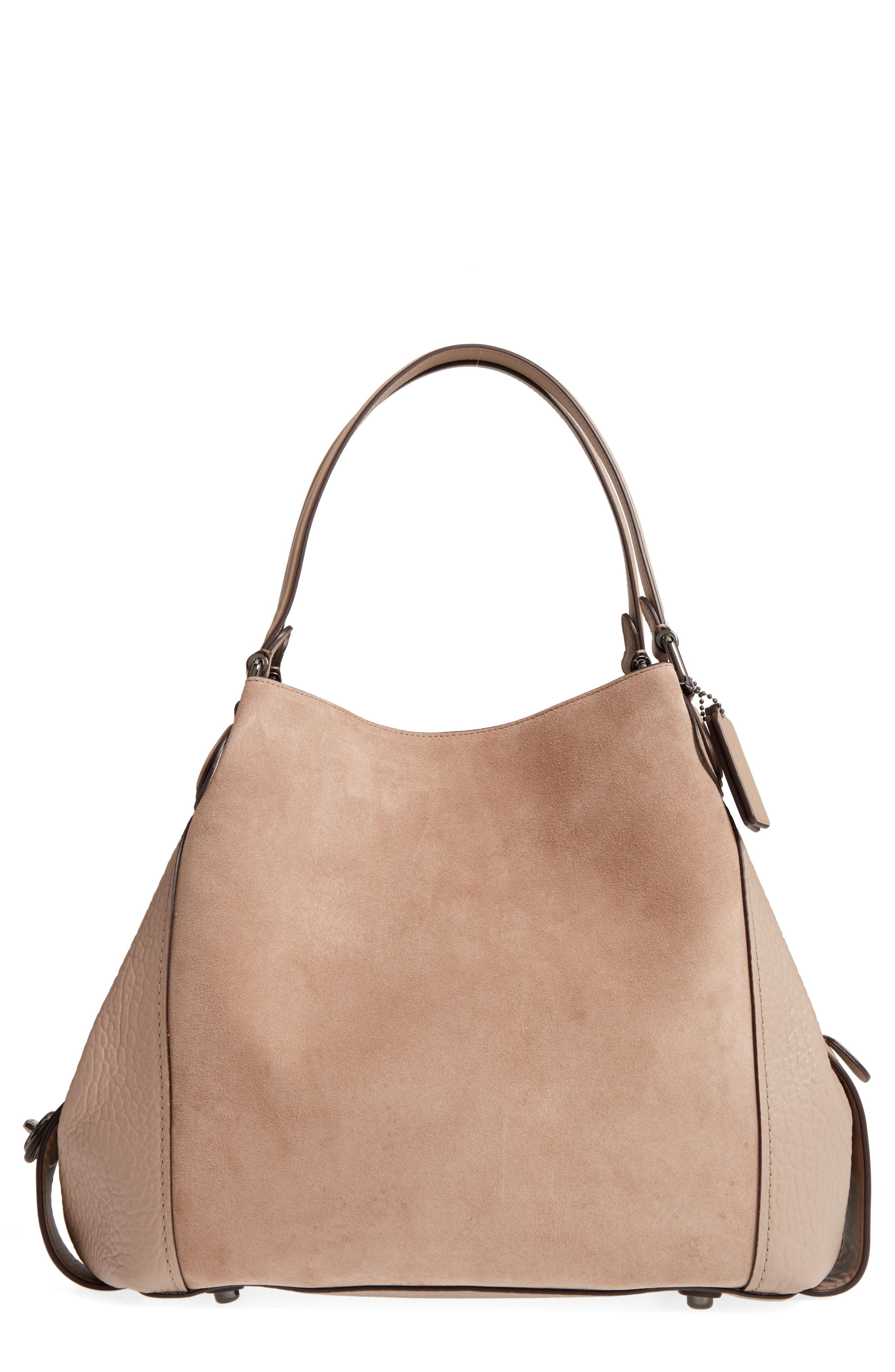 Edie Suede & Leather Shoulder Bag,                             Main thumbnail 1, color,                             253