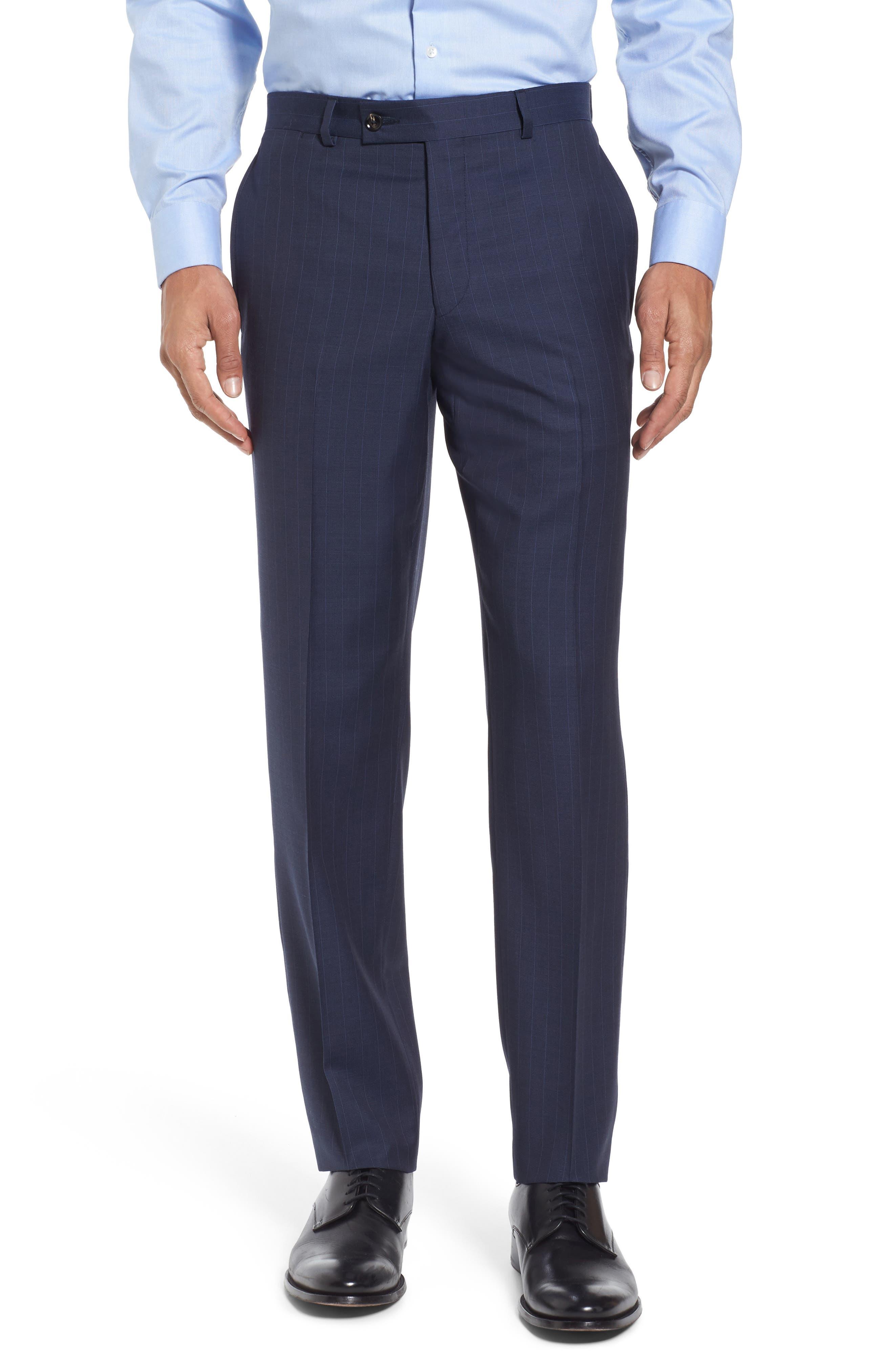 Jay Trim Fit Stripe Wool Suit,                             Alternate thumbnail 6, color,                             400