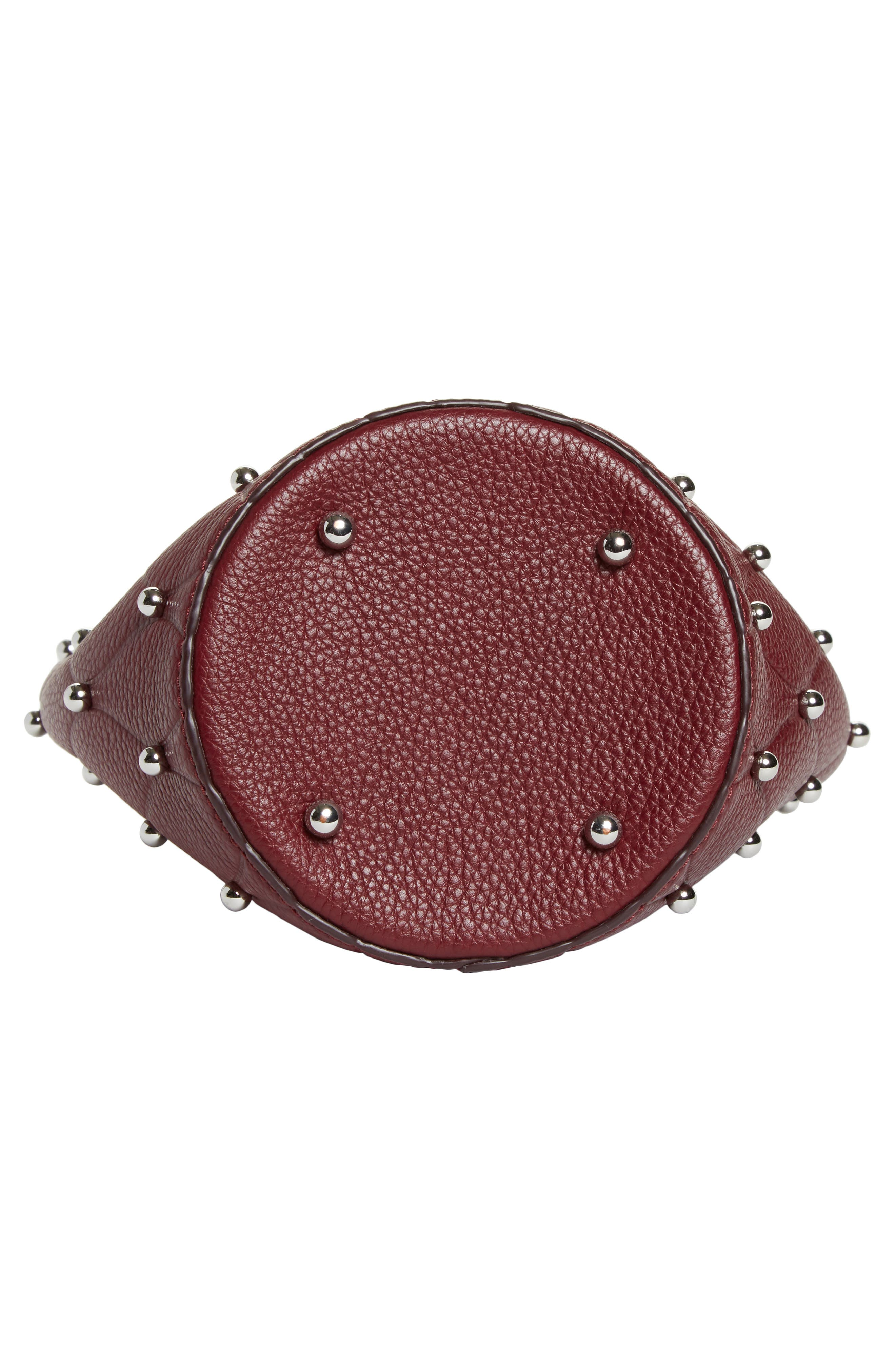 Mini Roxy Studded Leather Bucket Bag,                             Alternate thumbnail 6, color,                             616