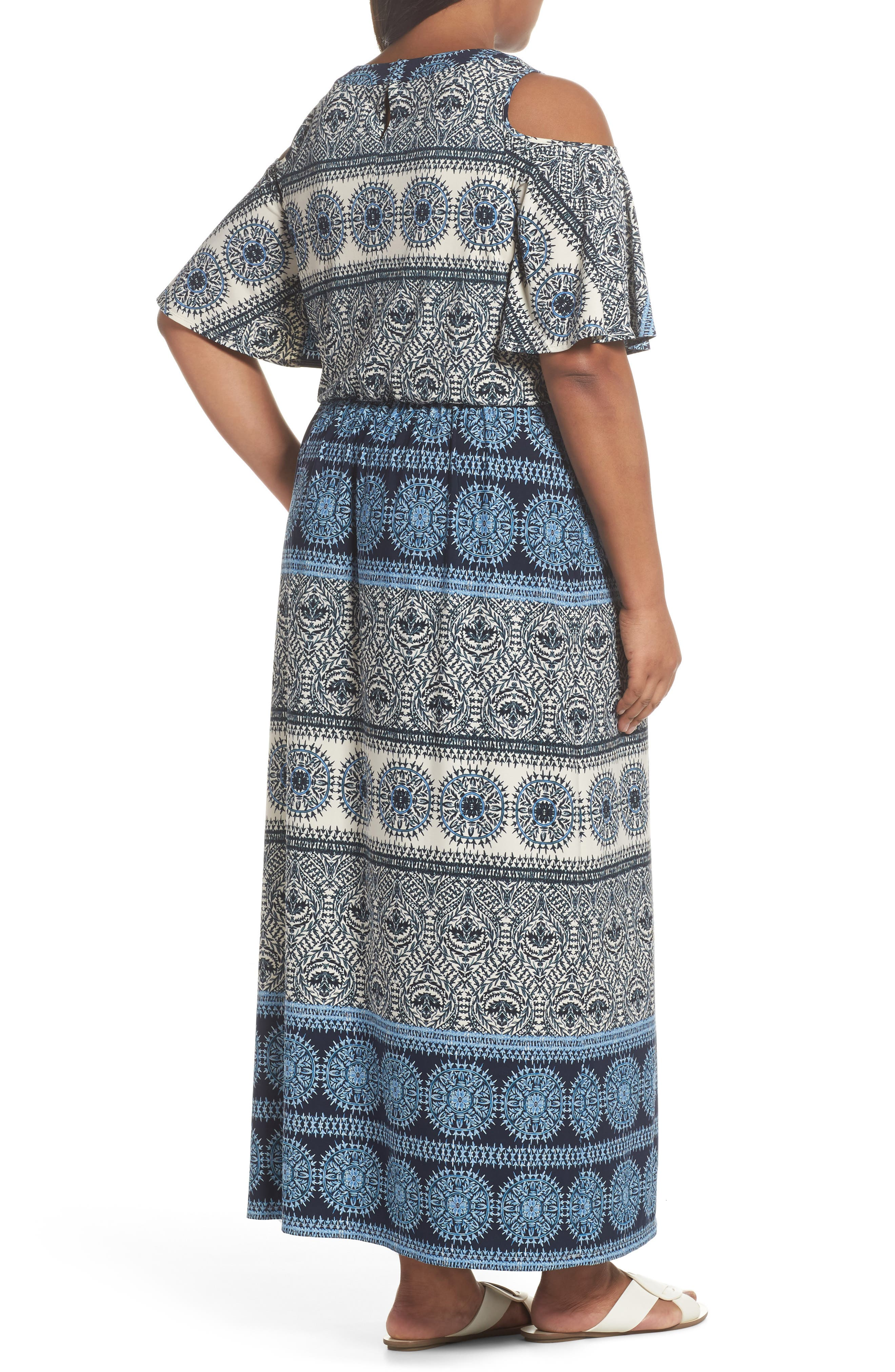 Print Cold Shoulder Blouson Maxi Dress,                             Alternate thumbnail 2, color,                             IVORY/ BLUE