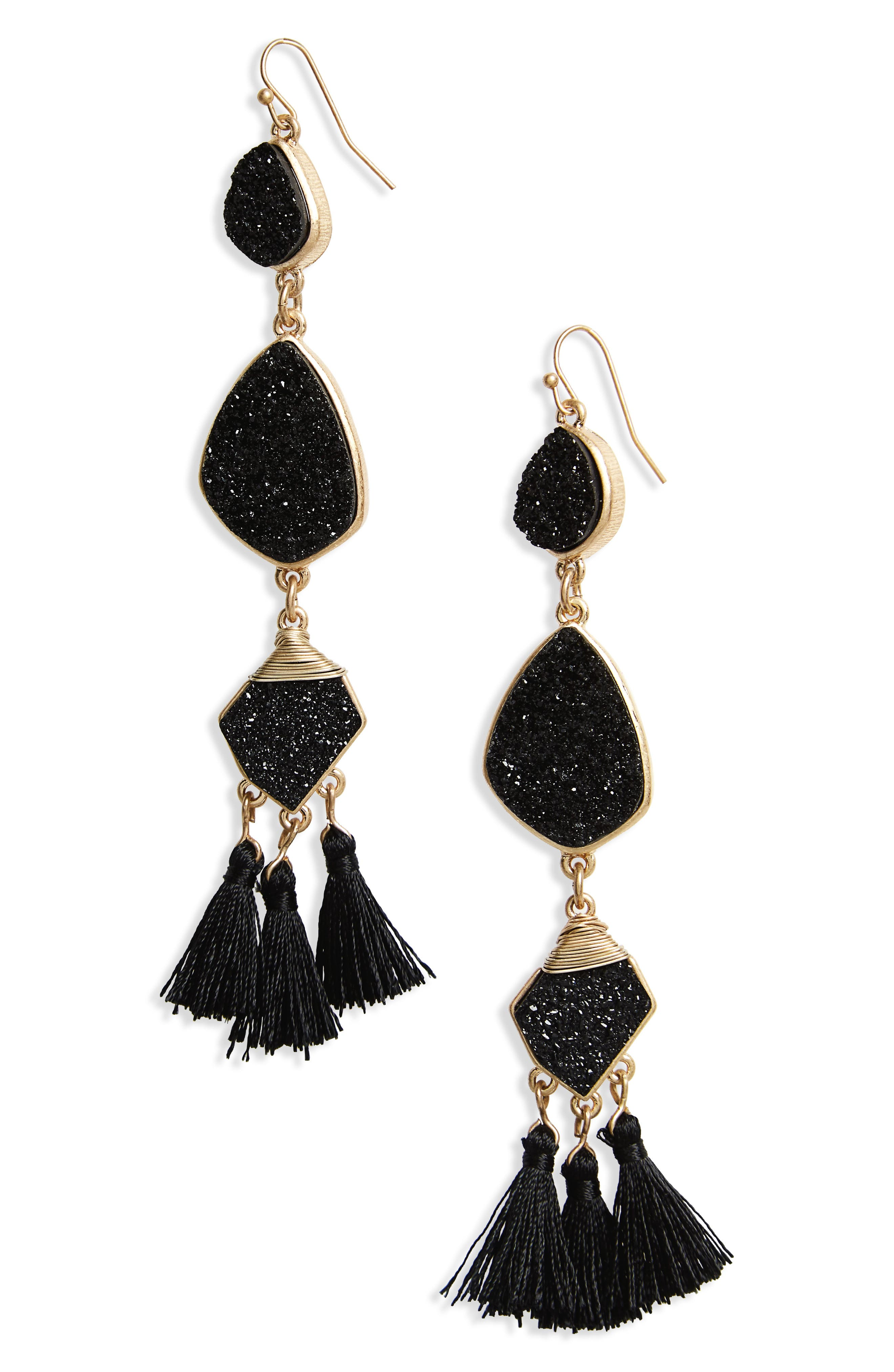 Drusy Tassel Earrings,                         Main,                         color,