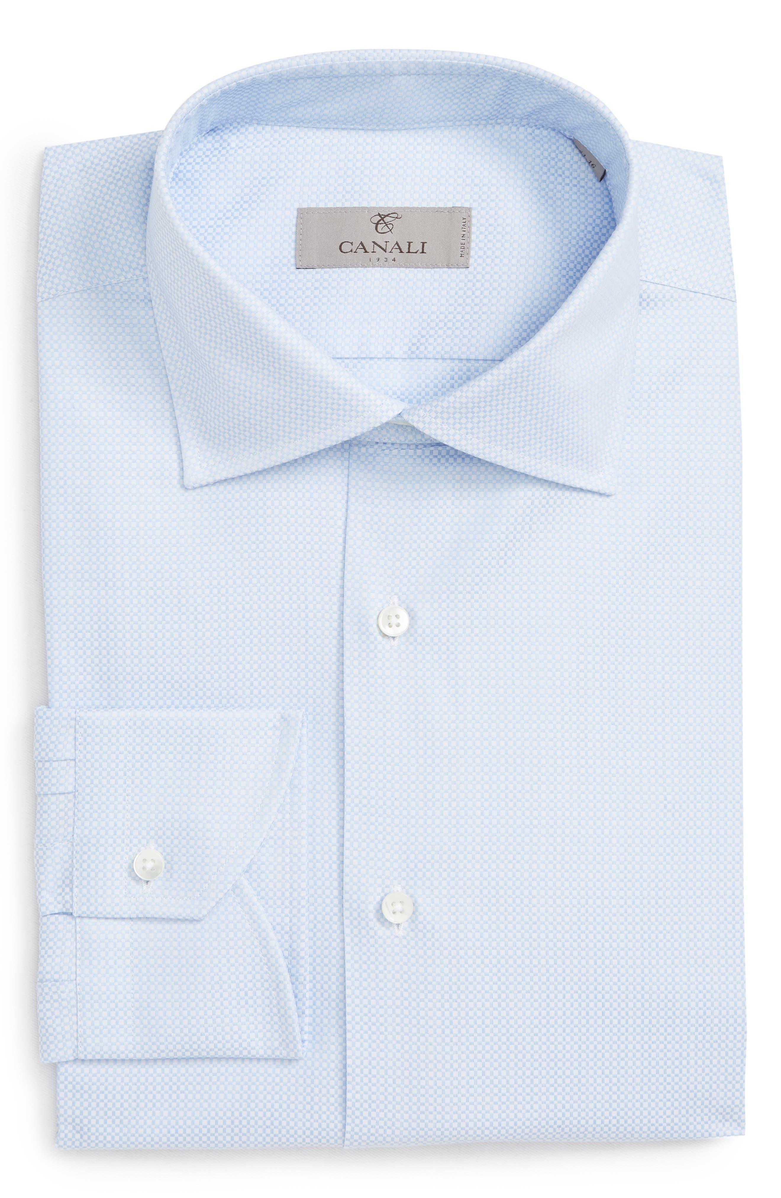 Trim Fit Geometric Dress Shirt,                             Alternate thumbnail 5, color,                             LIGHT BLUE