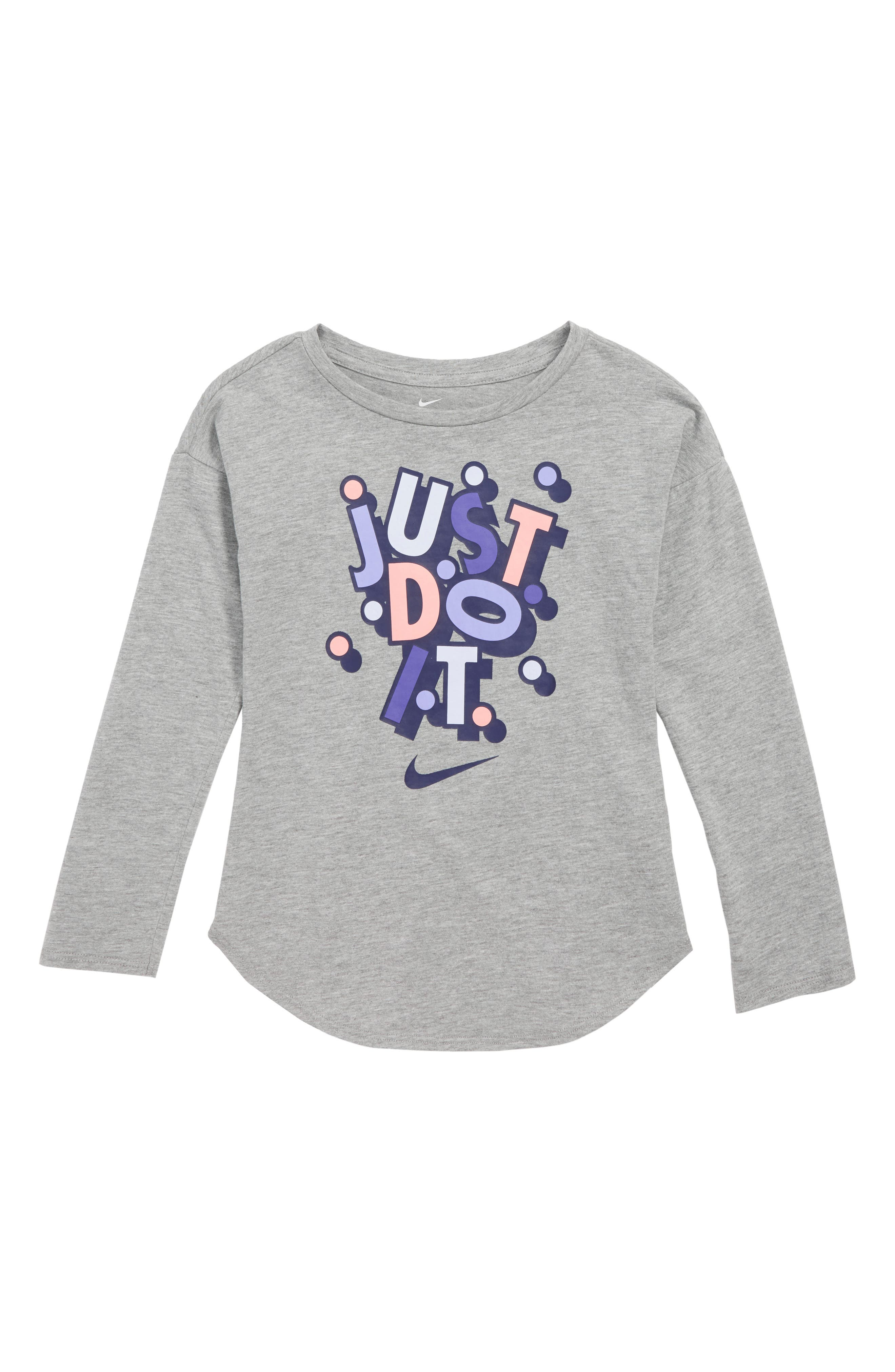 Confetti Just Do It Graphic Tee,                             Main thumbnail 1, color,                             DK GREY HEATHER