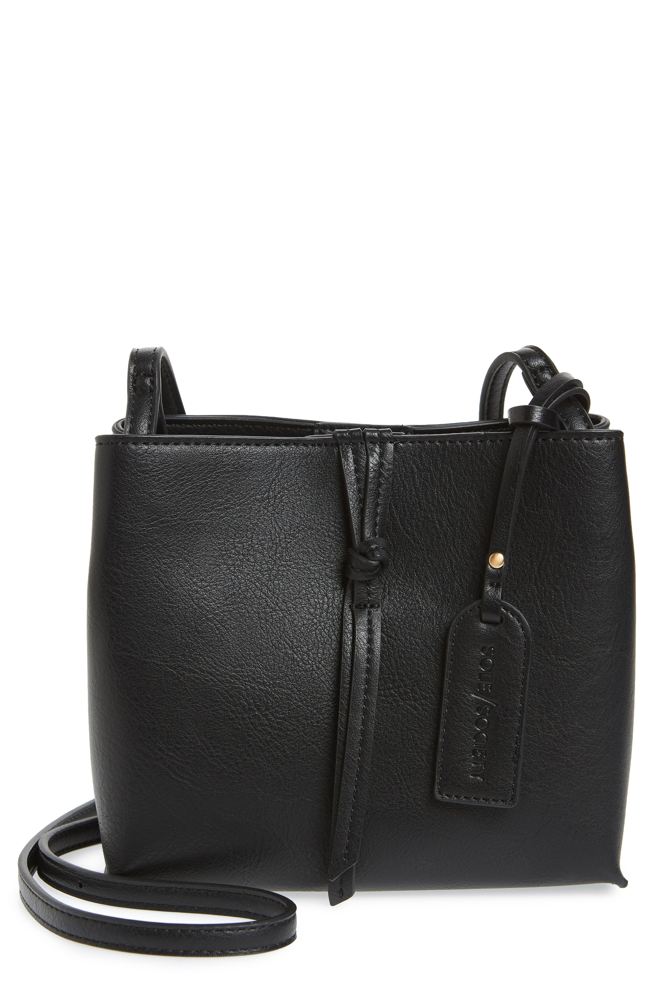 Faux Leather Crossbody Bag,                         Main,                         color, 001