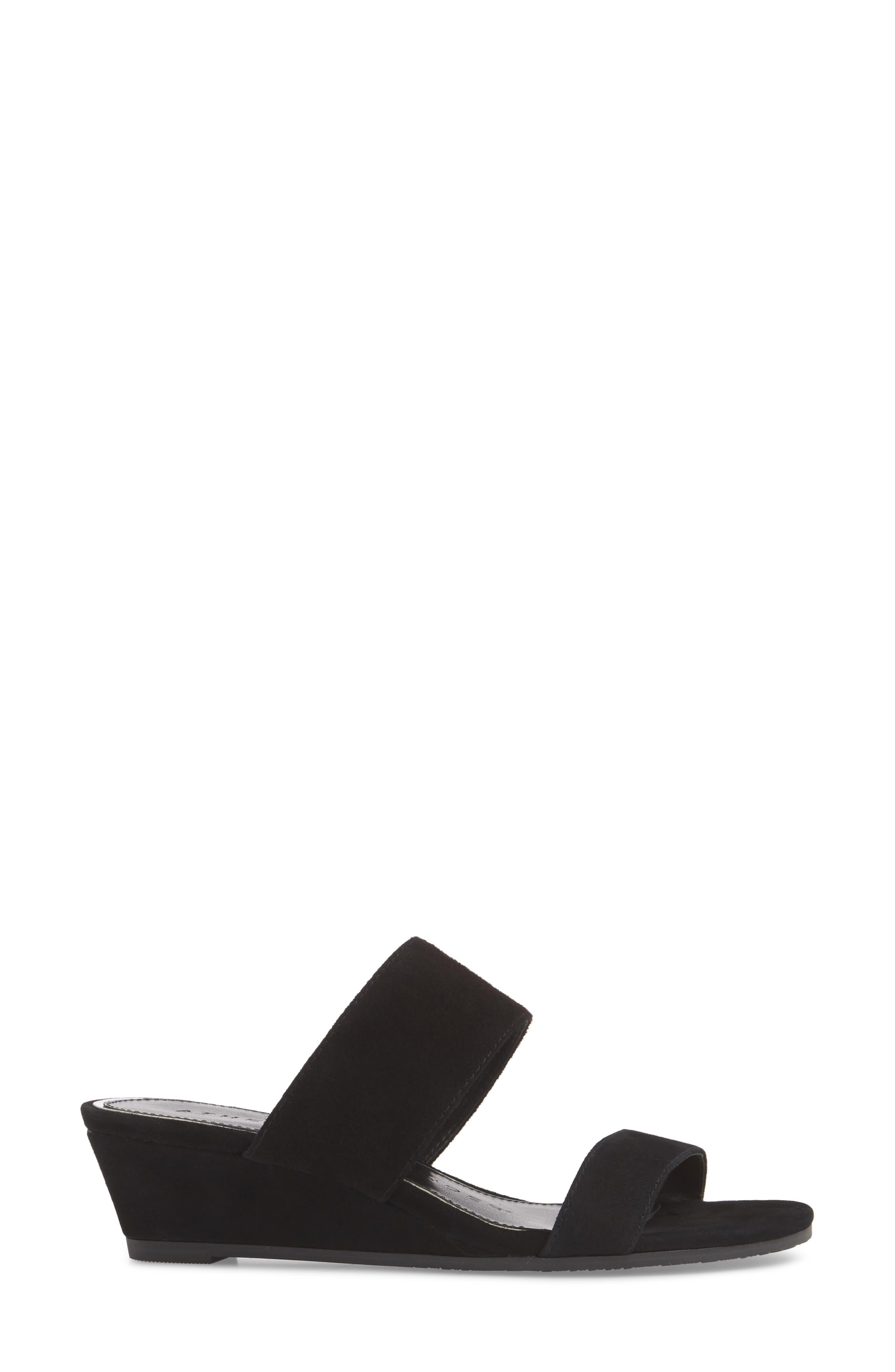 Burlington Wedge Slide Sandal,                             Alternate thumbnail 3, color,                             BLACK SUEDE