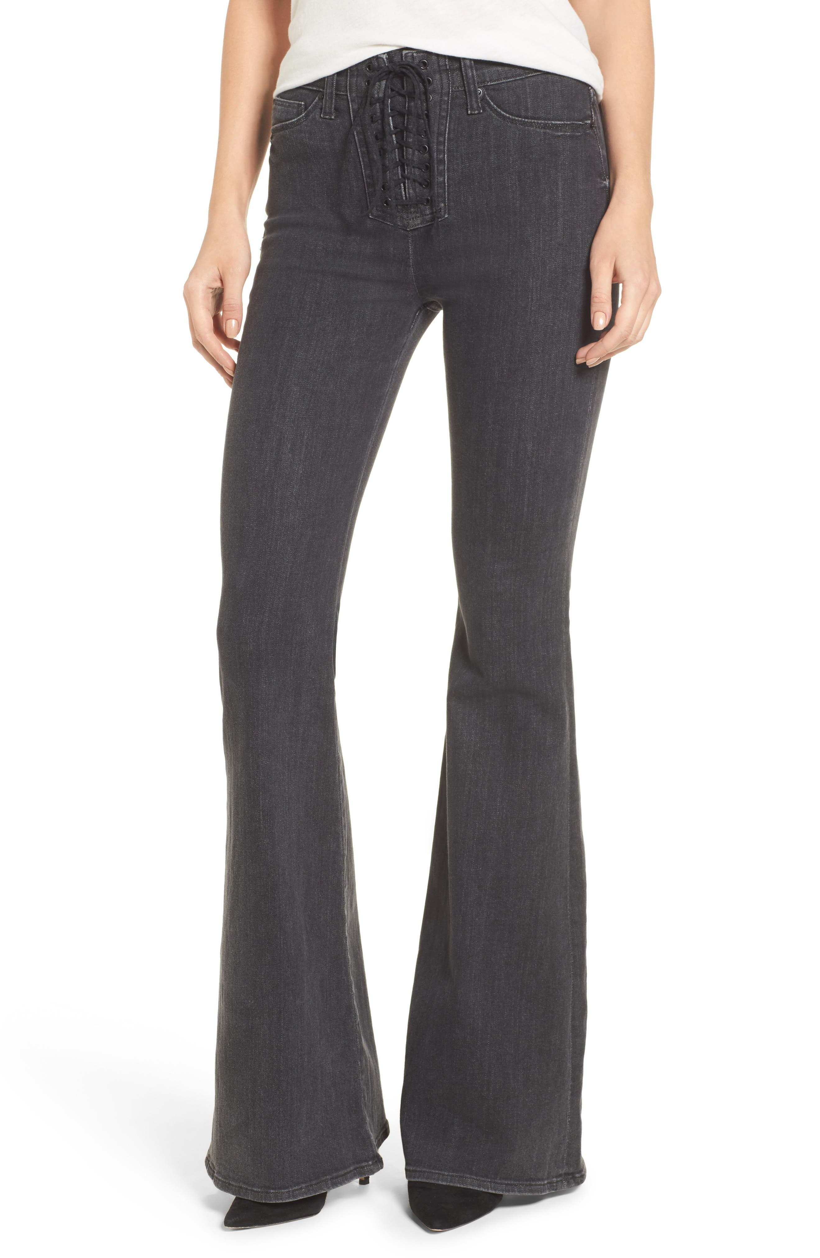 Bullocks High Waist Lace-Up Flare Jeans,                         Main,                         color, 064