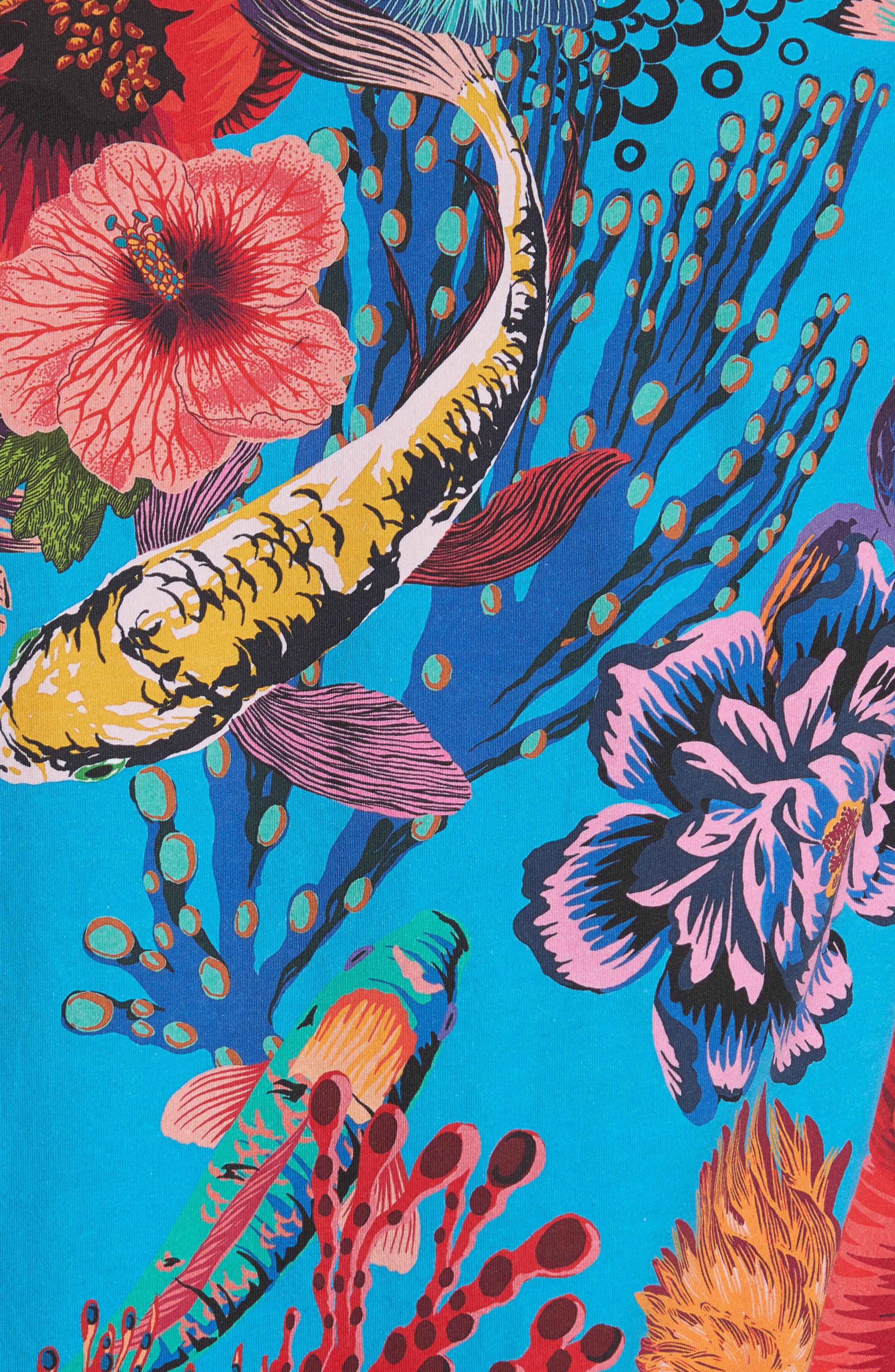 Fish Print T-Shirt,                             Alternate thumbnail 5, color,                             454