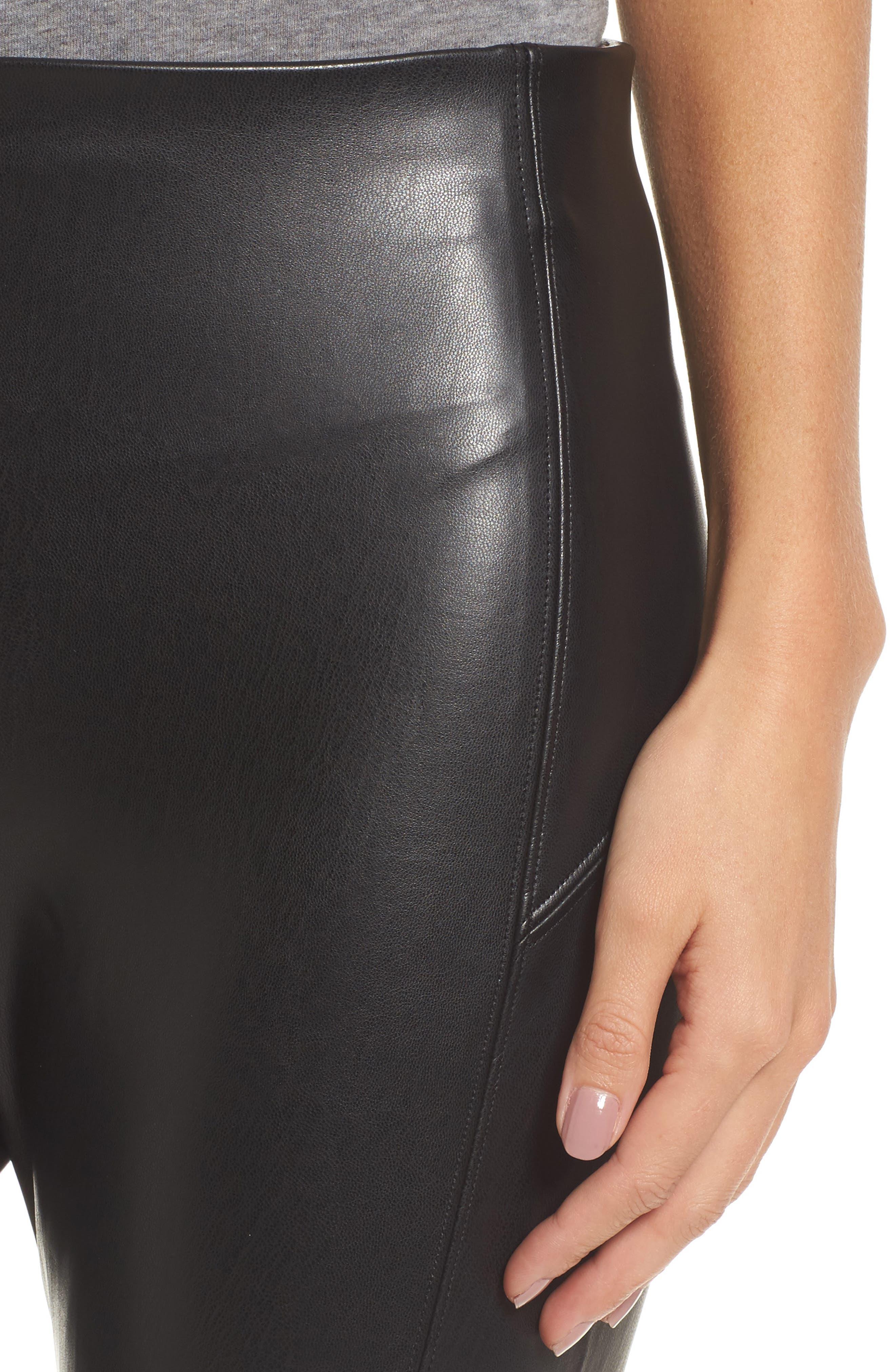 Faux Leather Leggings,                             Alternate thumbnail 4, color,                             BLACK