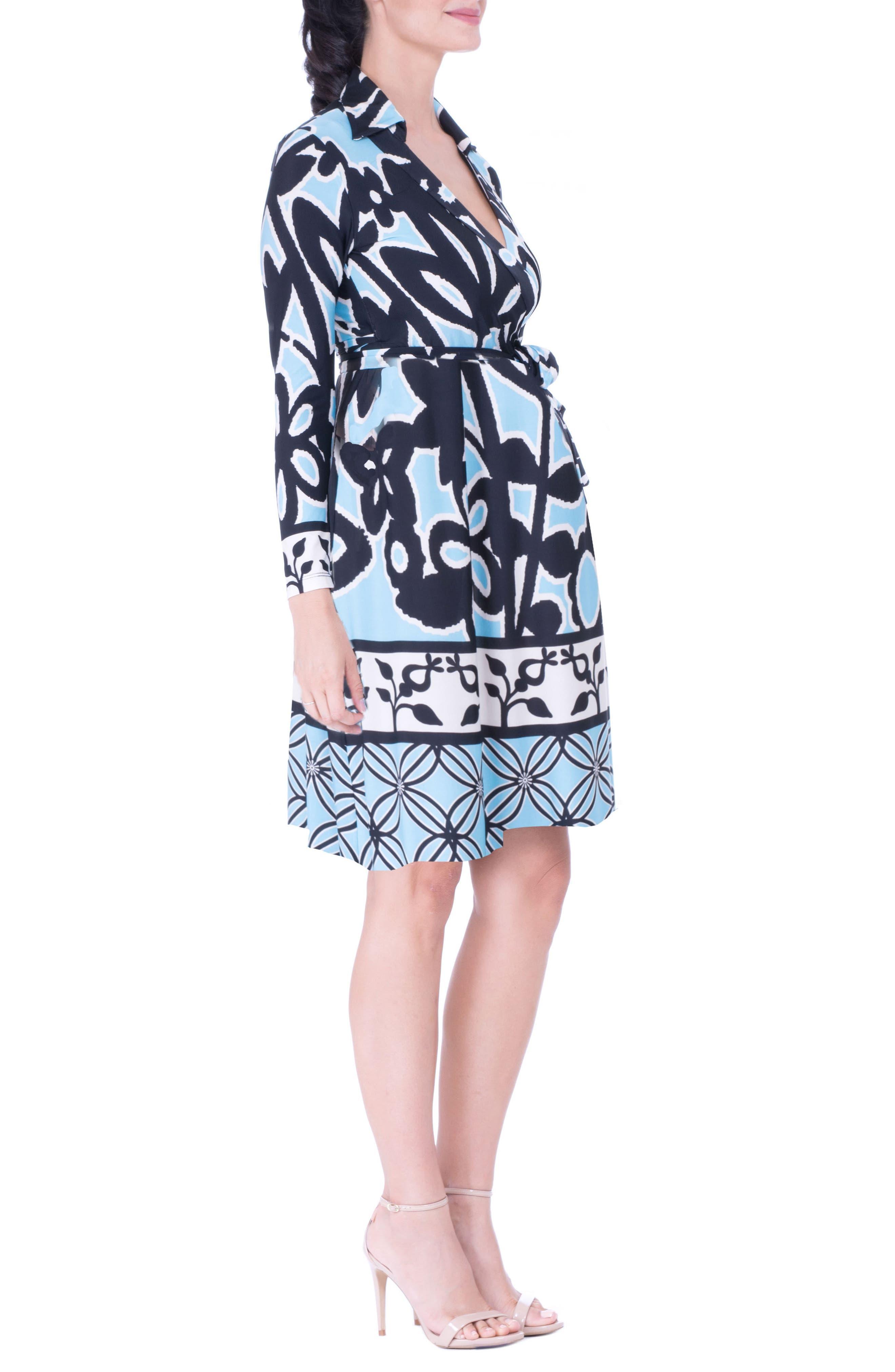 Maternity Wrap Dress,                             Alternate thumbnail 3, color,                             BLUE
