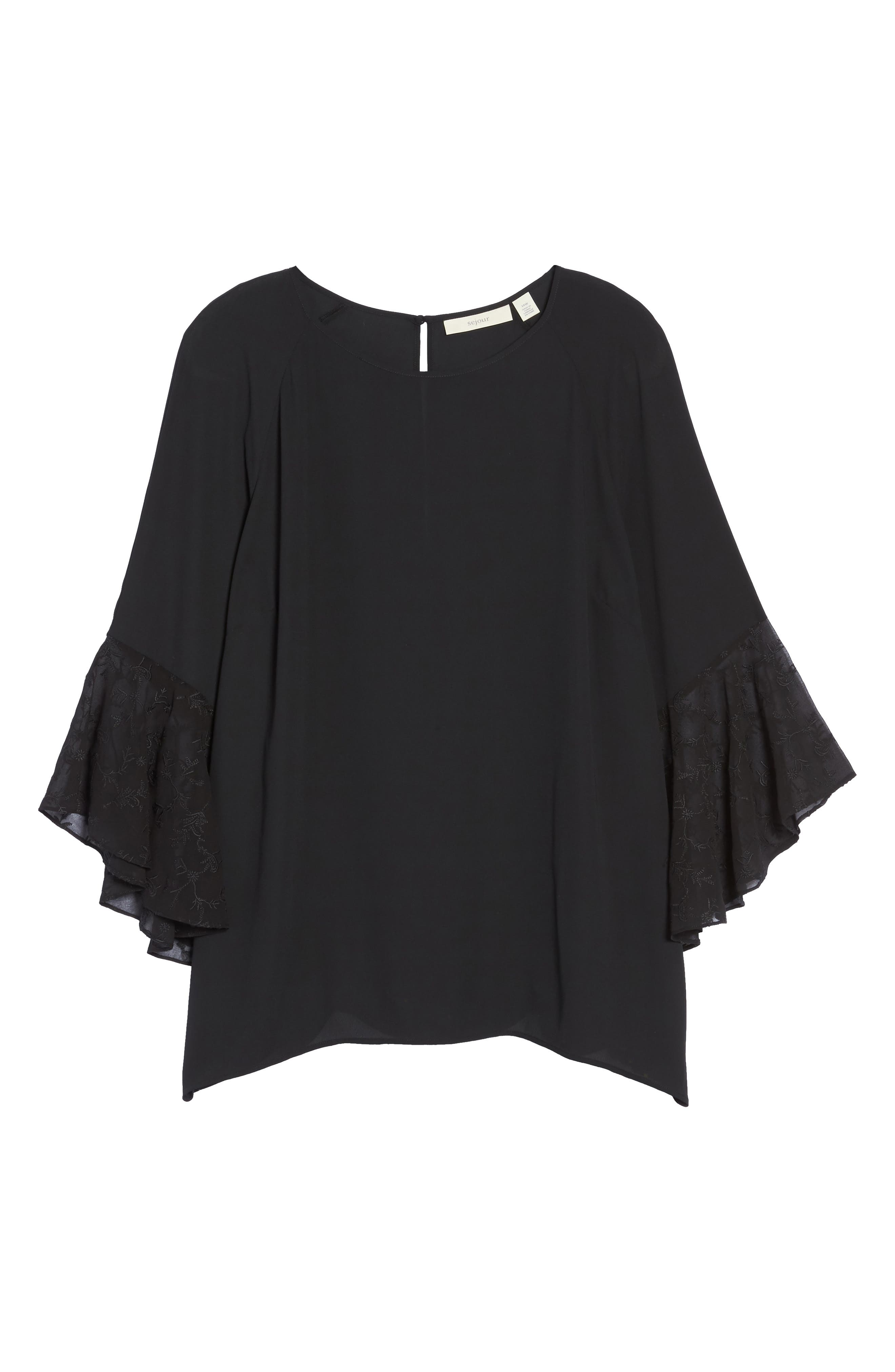Embroidered Bell Sleeve Blouse,                             Alternate thumbnail 6, color,                             001