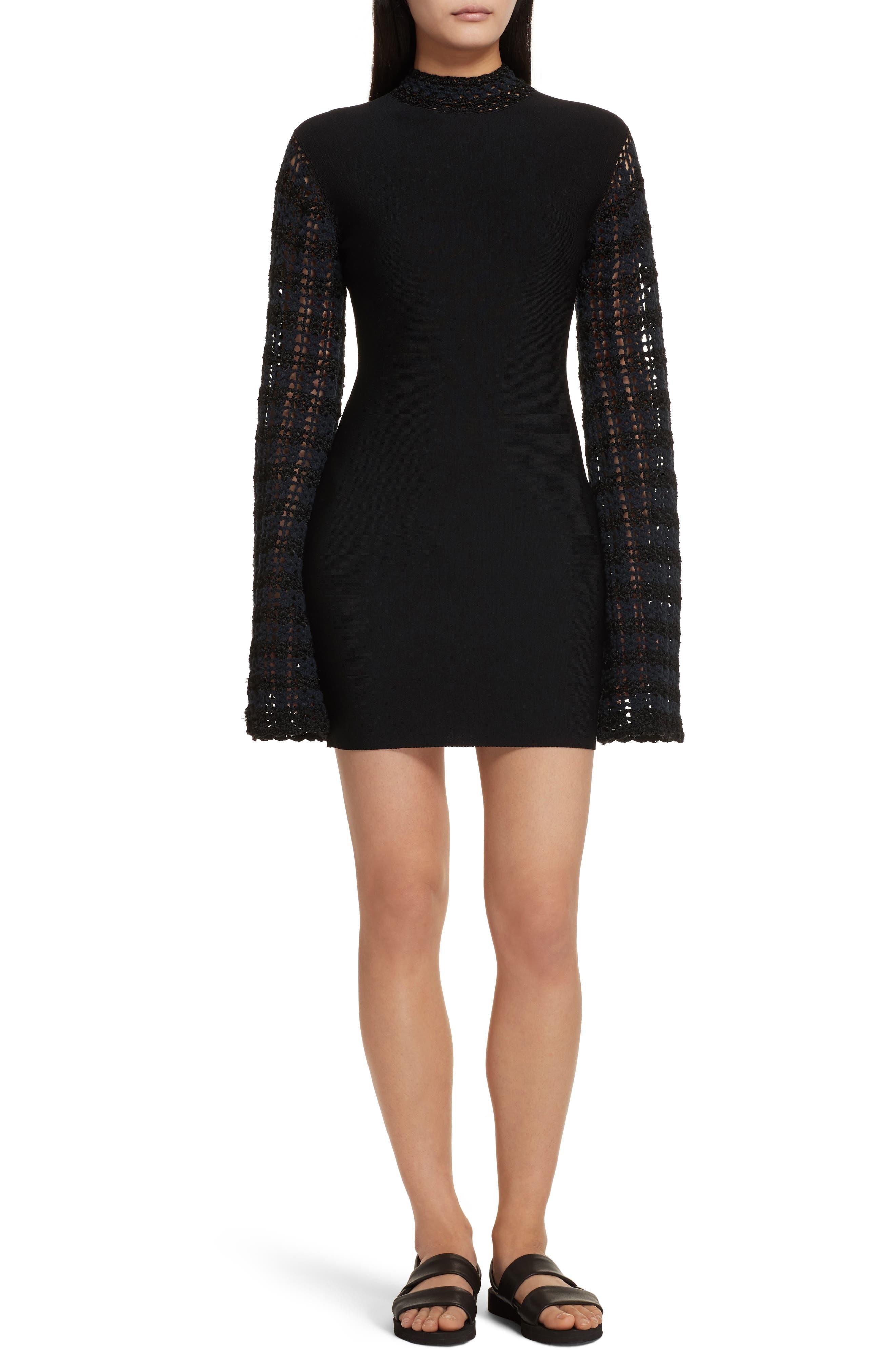Crochet Sleeve Open Back Dress,                             Main thumbnail 1, color,                             001