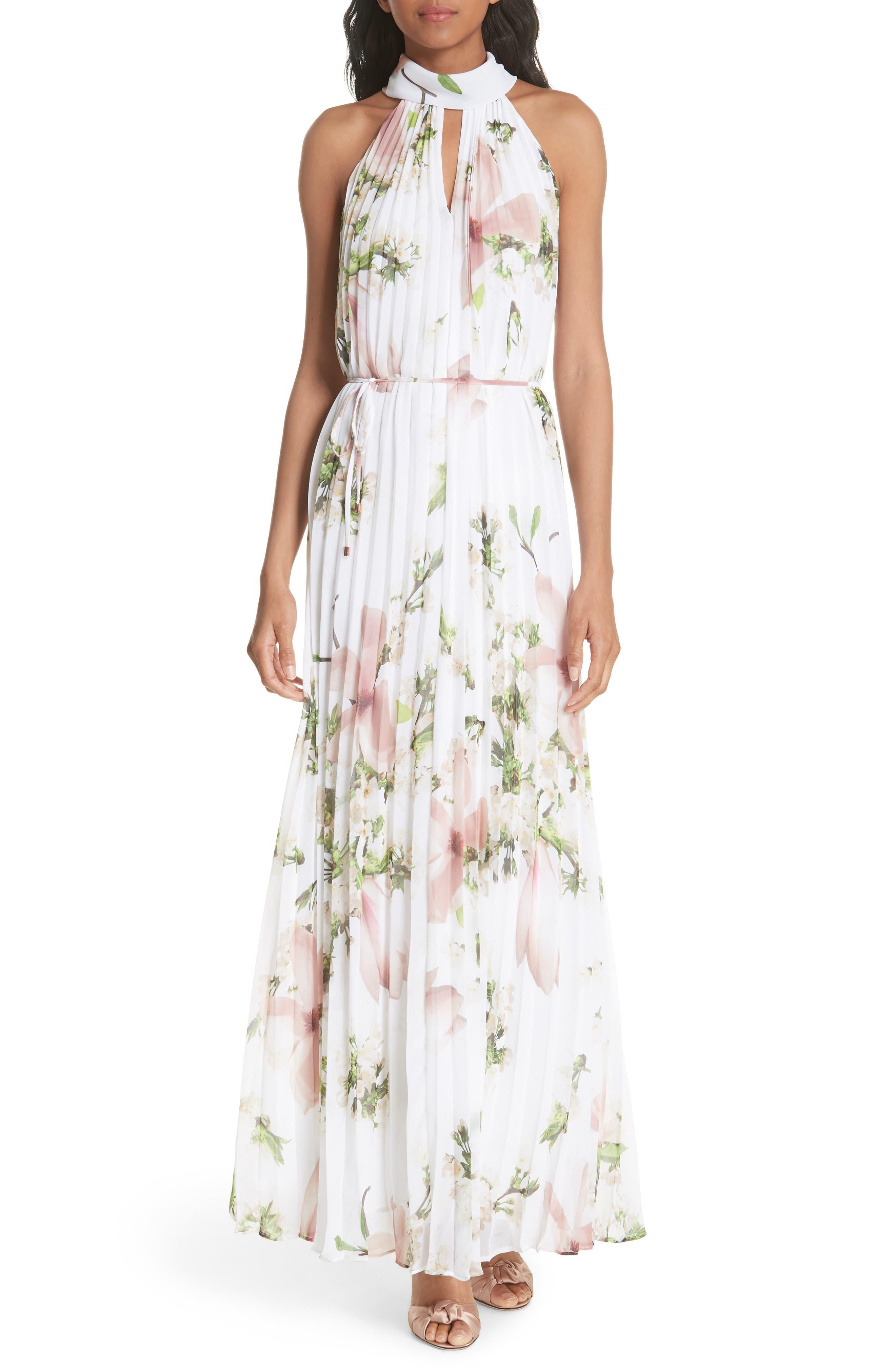 Harmony Pleat Maxi Dress,                         Main,                         color, 110