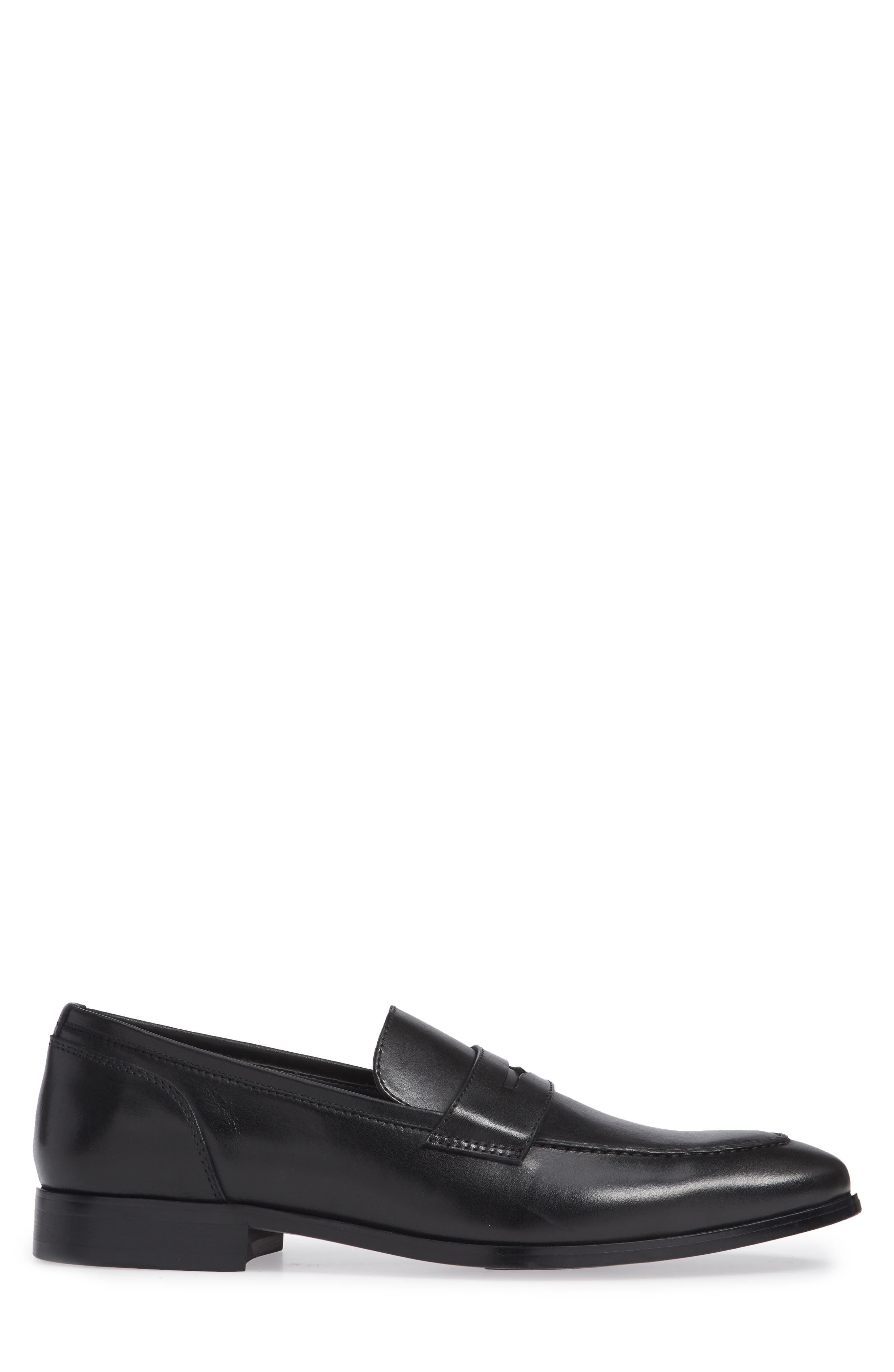 Denio Apron Toe Penny Loafer,                             Alternate thumbnail 3, color,                             BLACK LEATHER