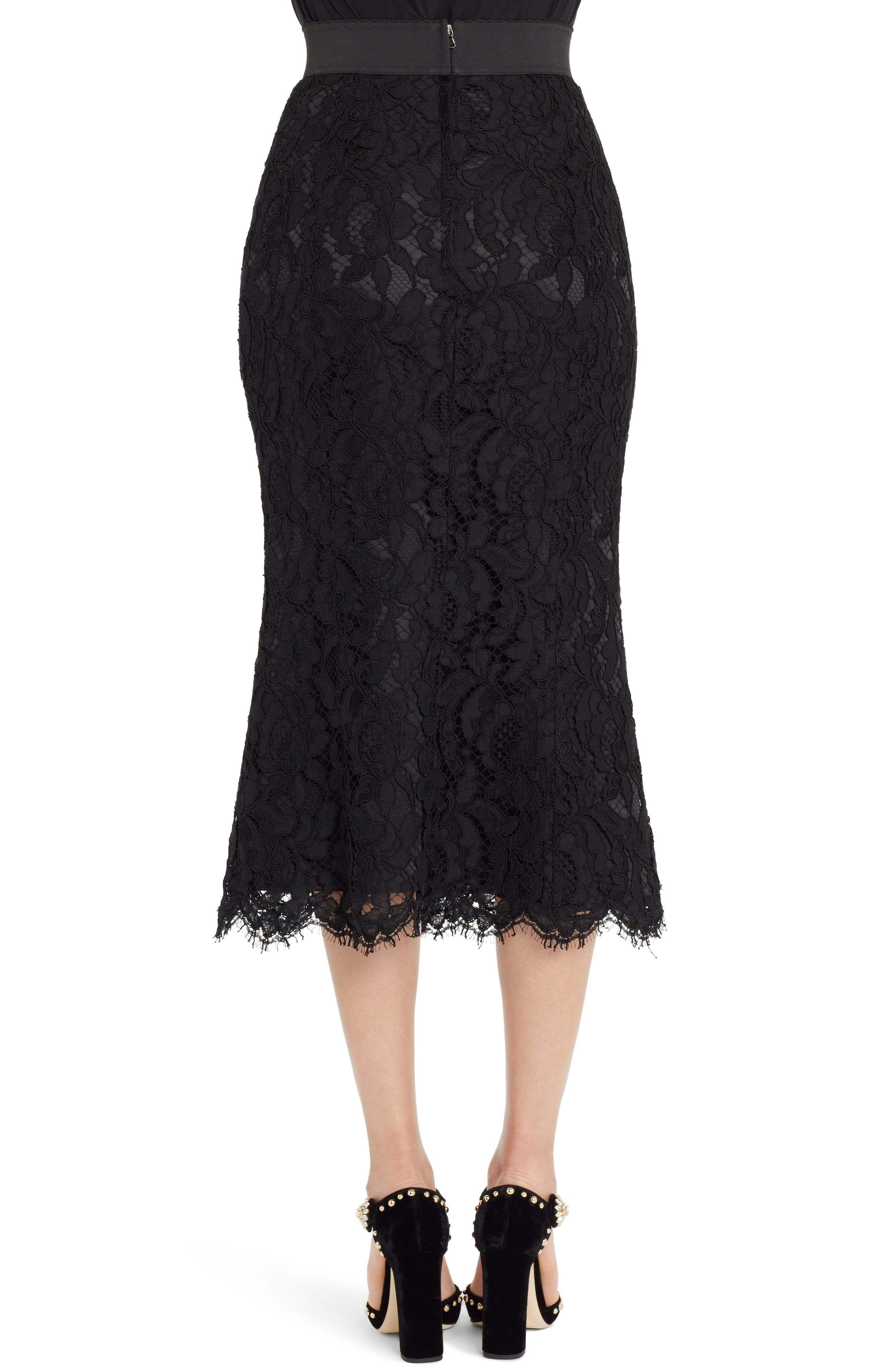 Lace Midi Skirt,                             Alternate thumbnail 2, color,                             BLACK