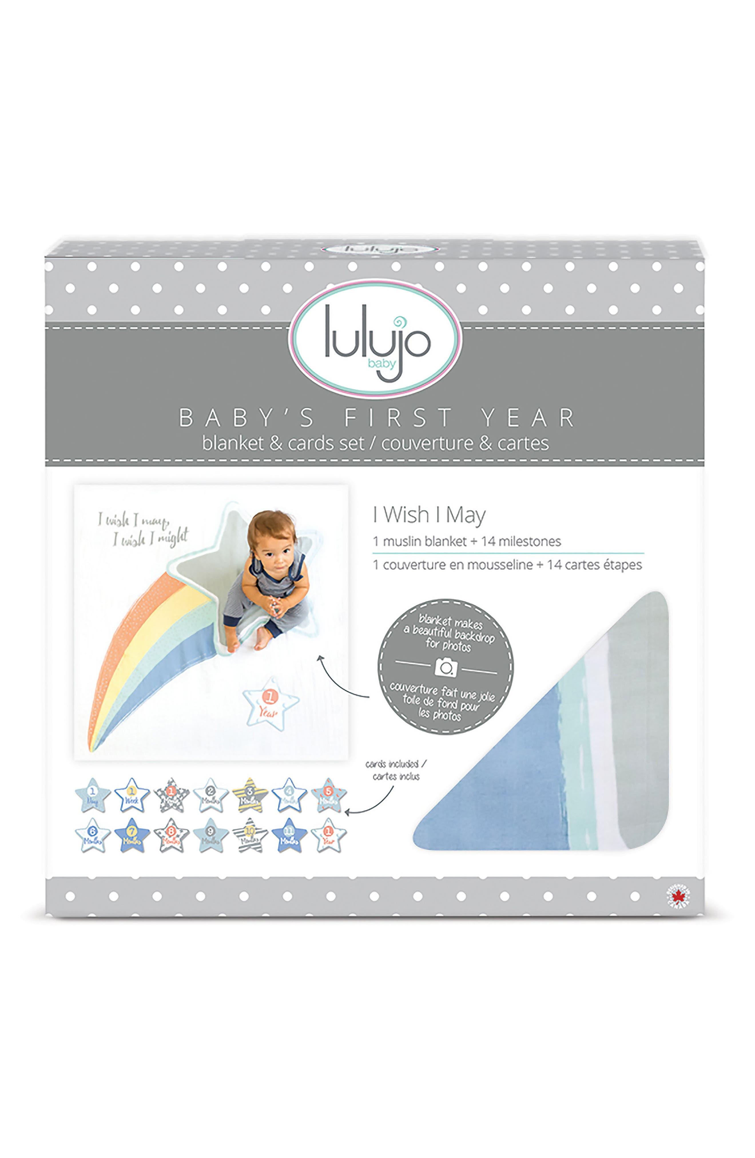 Baby's First Year - I Wish I May Muslin Blanket & Milestone Card Set,                             Main thumbnail 1, color,                             020