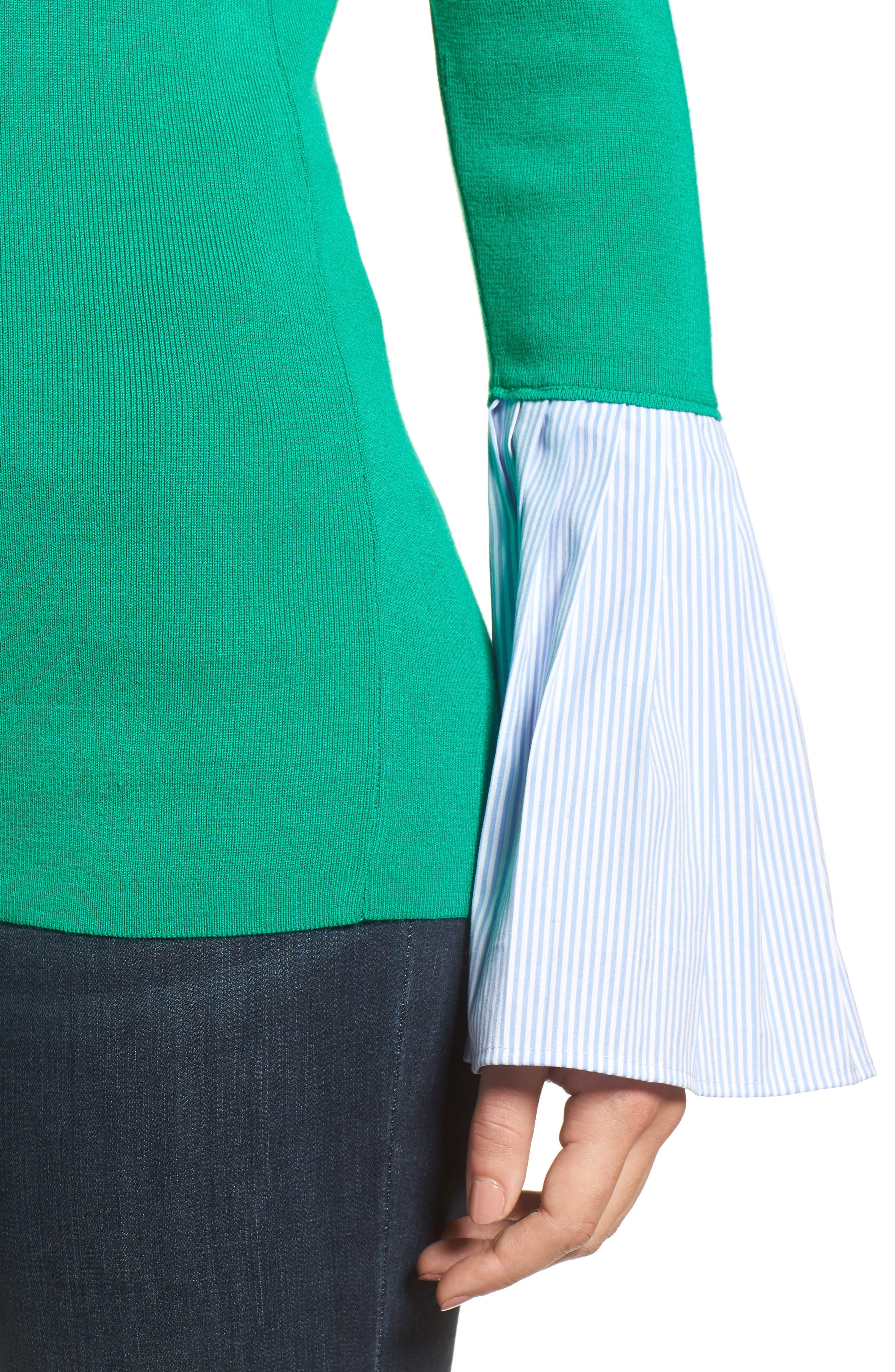Poplin Bell Cuff Sweater,                             Alternate thumbnail 14, color,