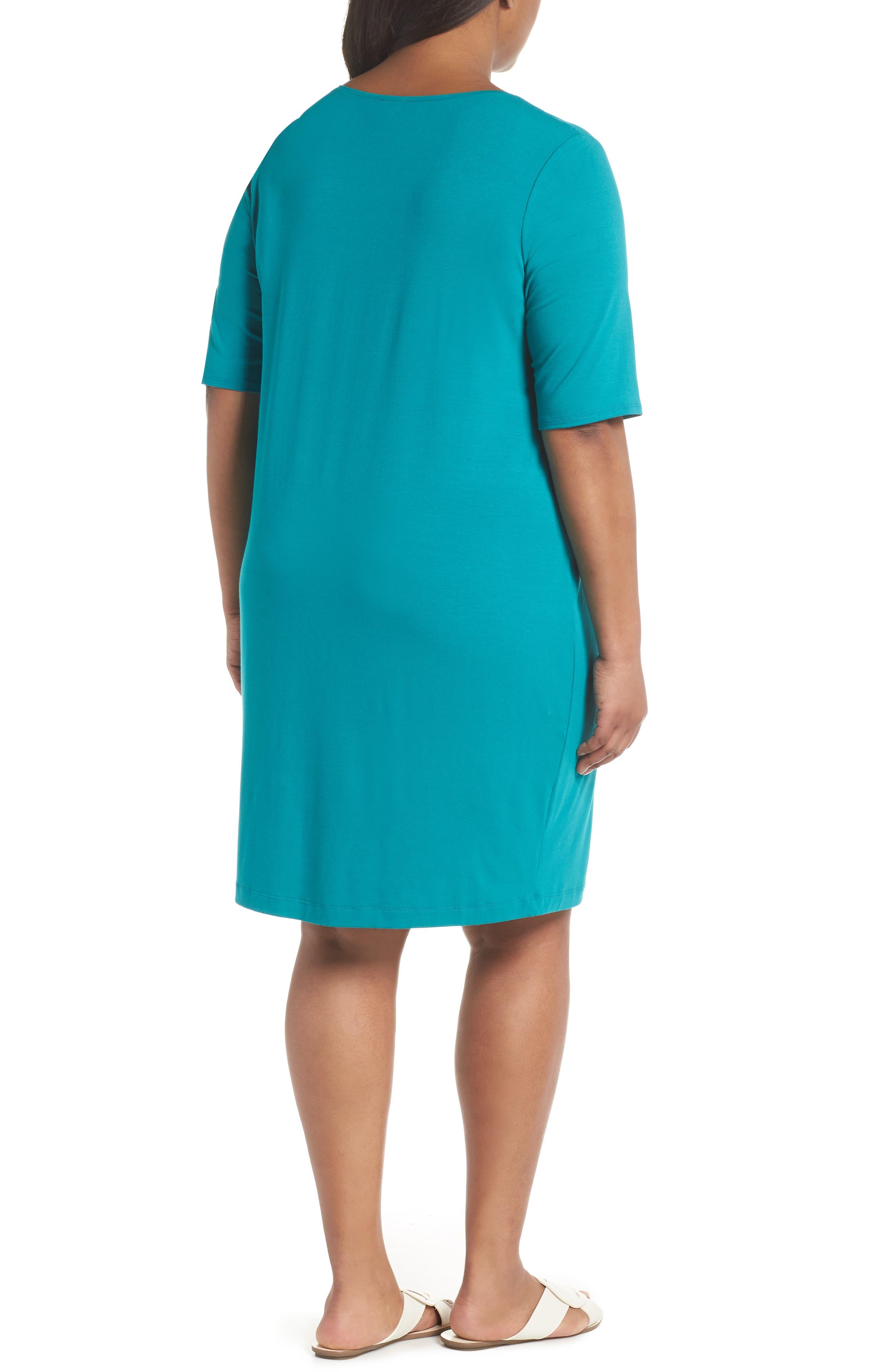 V-Neck Stretch Jersey Shift Dress,                             Alternate thumbnail 10, color,