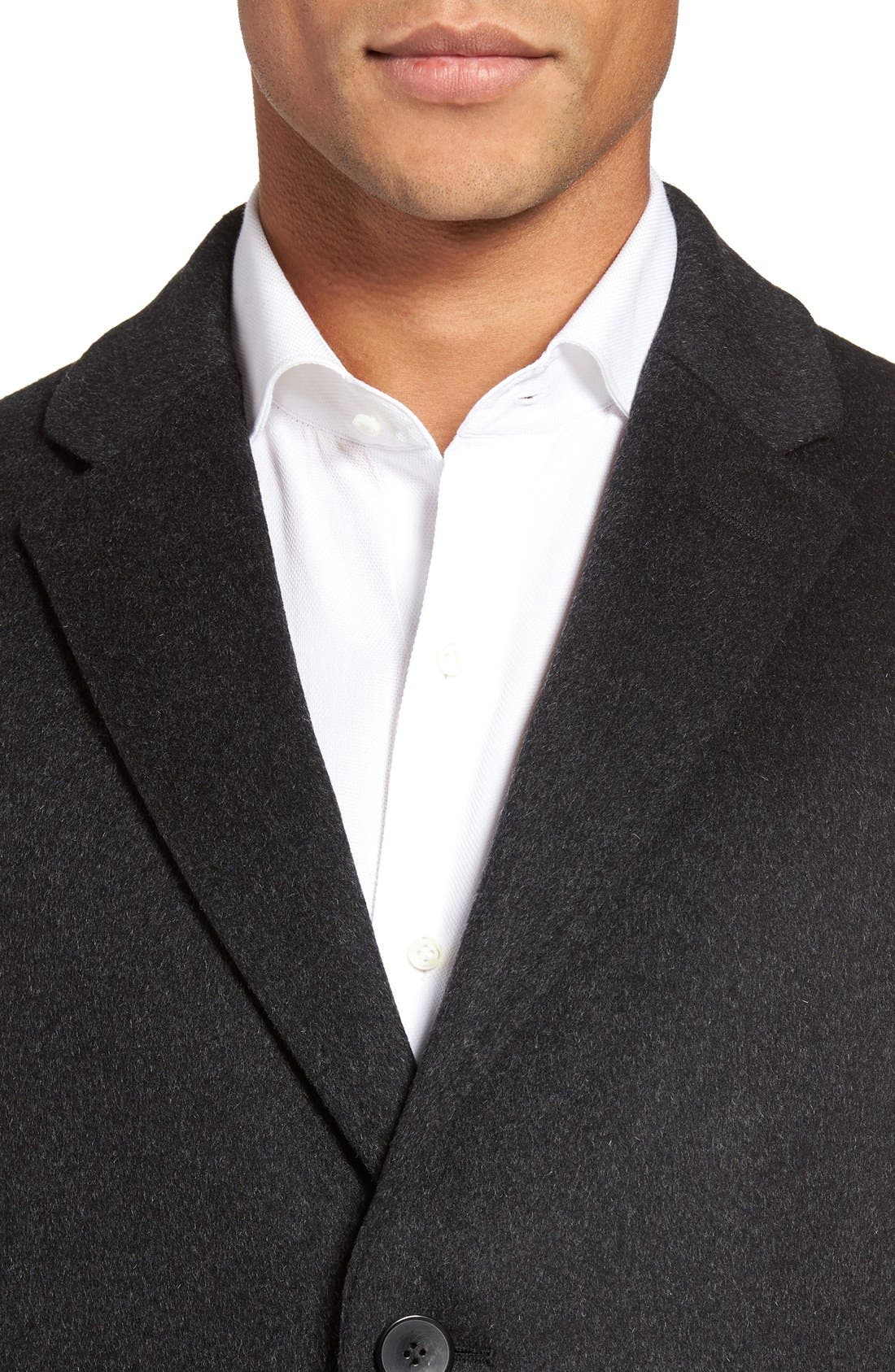 BOSS The Stratus Wool & Cashmere Overcoat,                             Alternate thumbnail 4, color,                             010
