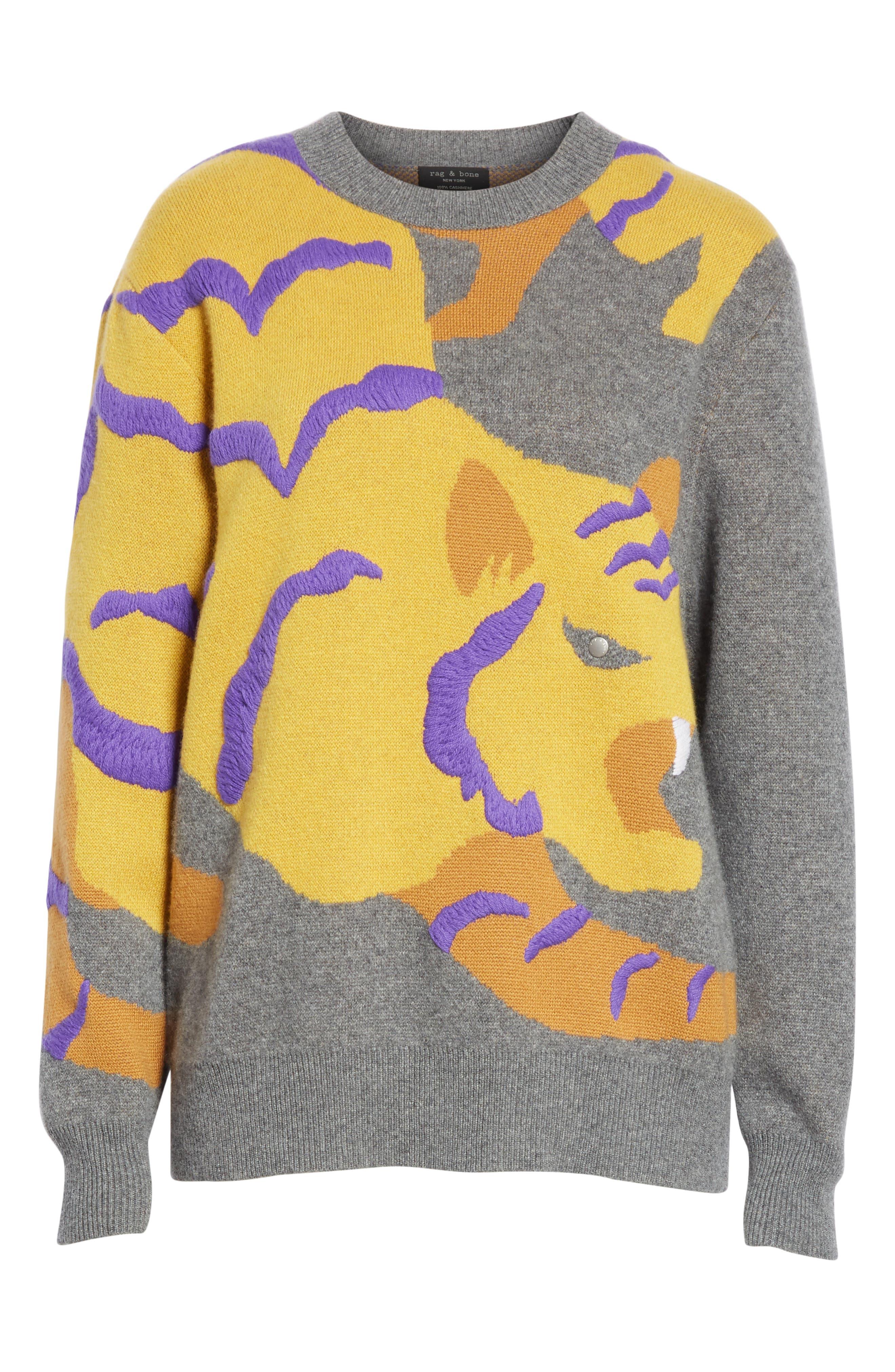 RAG & BONE,                             Tiger Cashmere Sweater,                             Alternate thumbnail 6, color,                             CHARCOAL