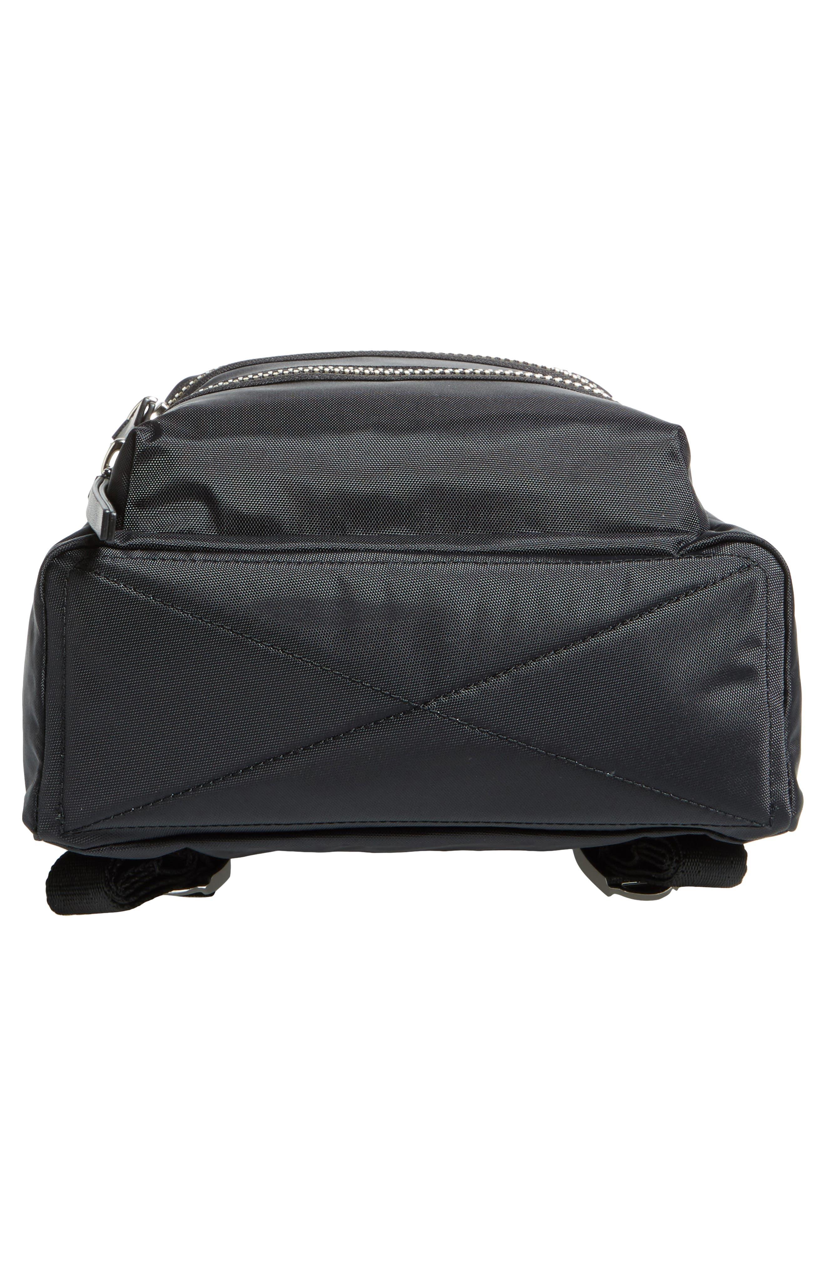 Mini Biker Nylon Backpack,                             Alternate thumbnail 6, color,                             BLACK