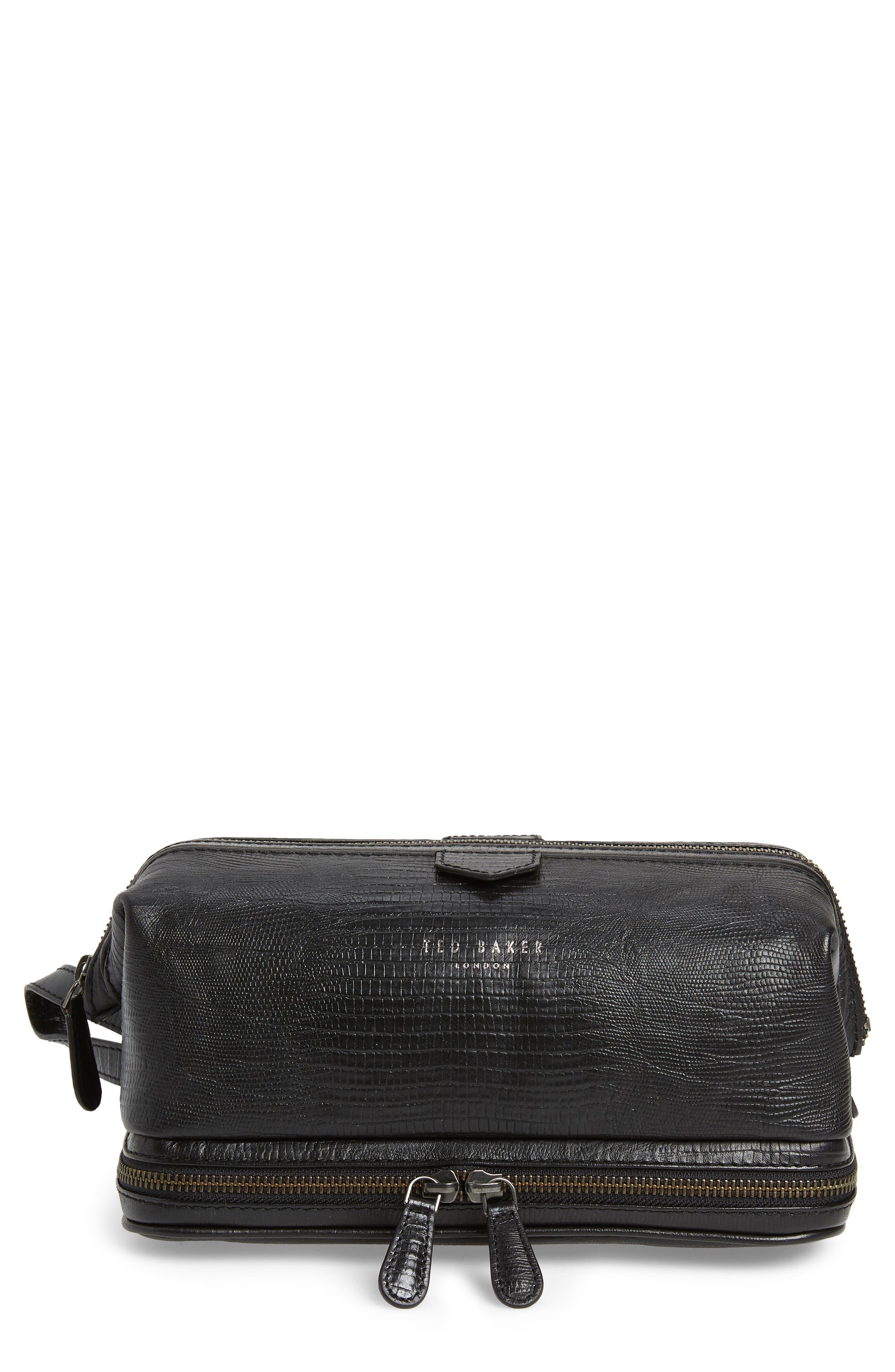 TED BAKER LONDON Leather Travel Kit, Main, color, BLACK