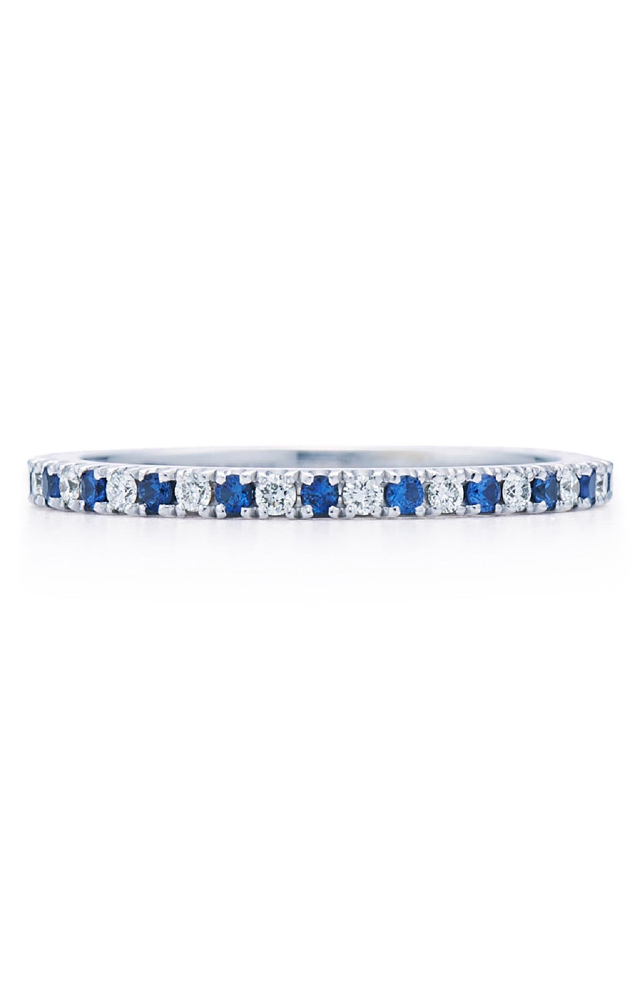 KWIAT,                             Diamond & Sapphire Stackable Ring,                             Main thumbnail 1, color,                             WHITE GOLD