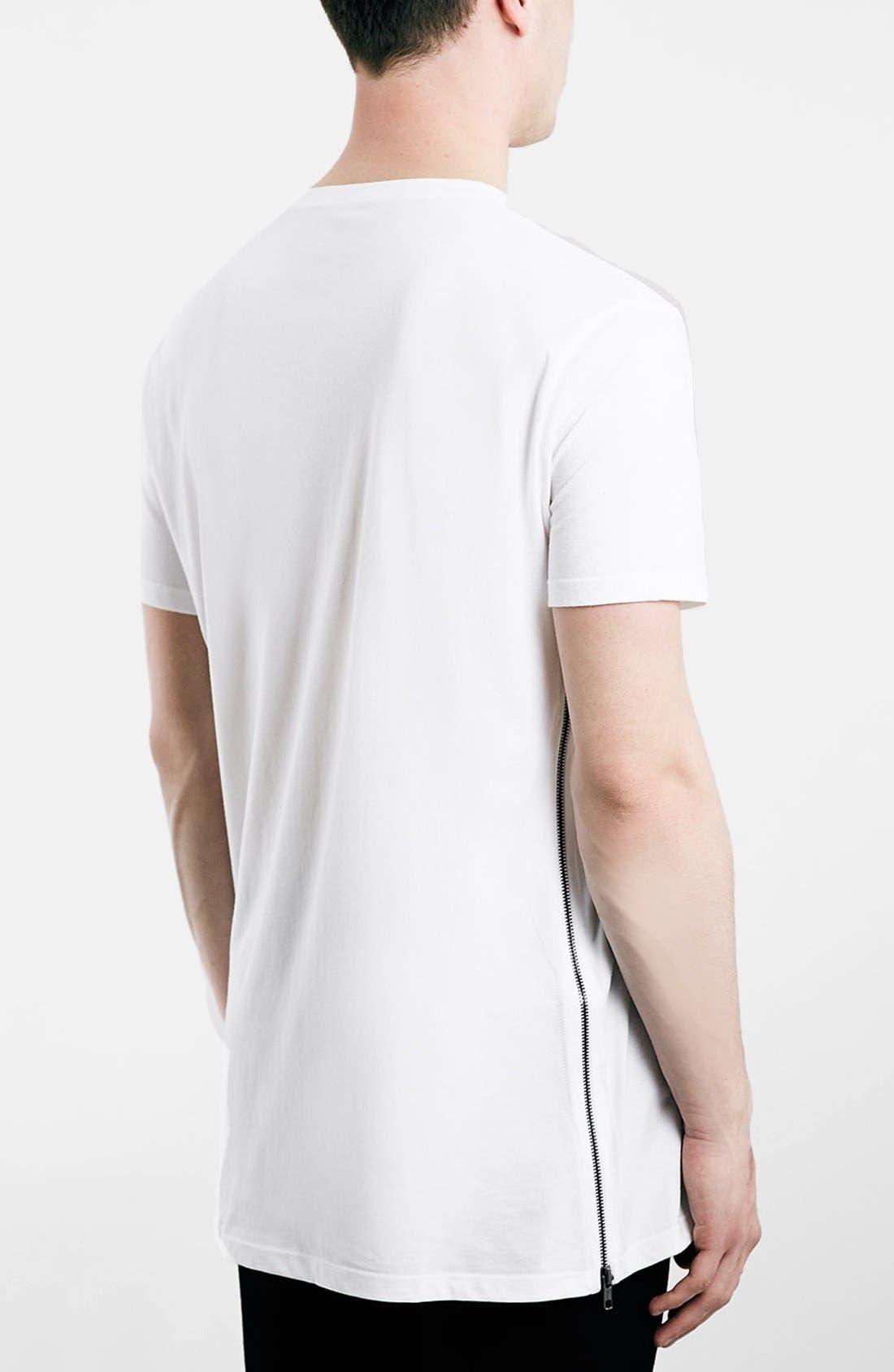 Slim Fit Longline T-Shirt with Side Zip Detail,                             Alternate thumbnail 6, color,                             100