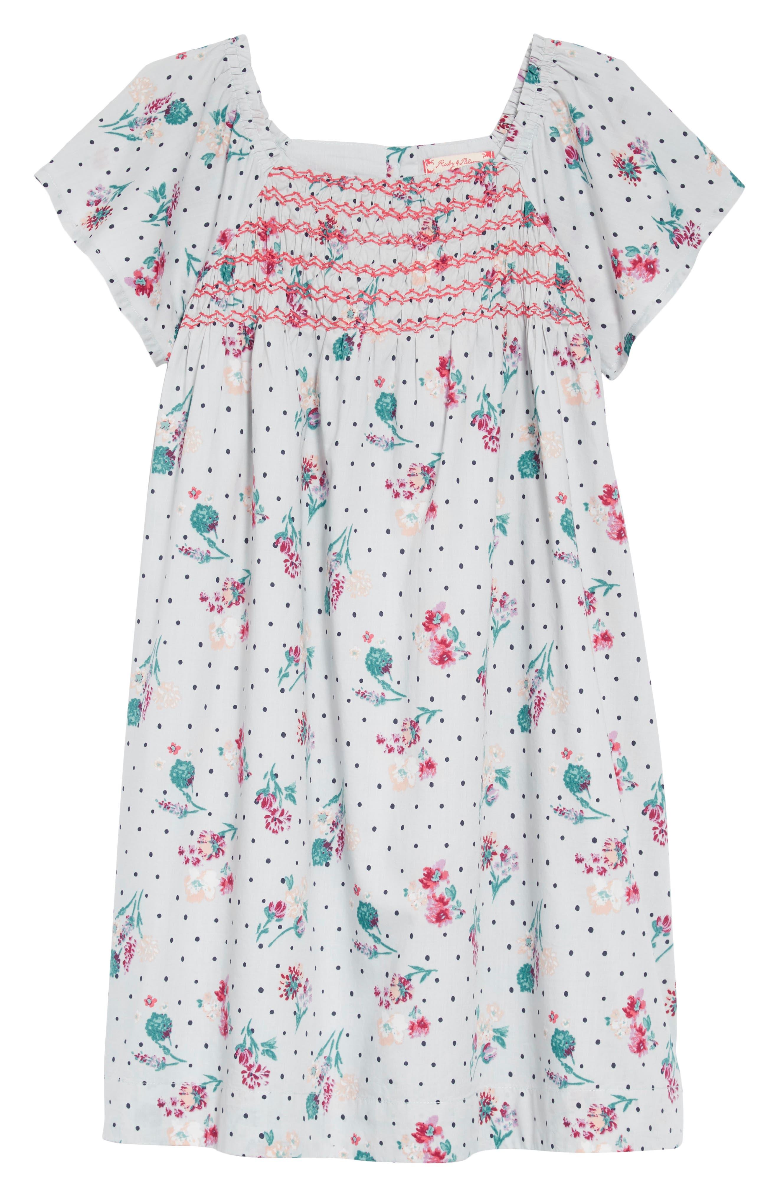 Floral Smock Dress,                         Main,                         color, GREY VIOLET BOTANICAL GARDEN