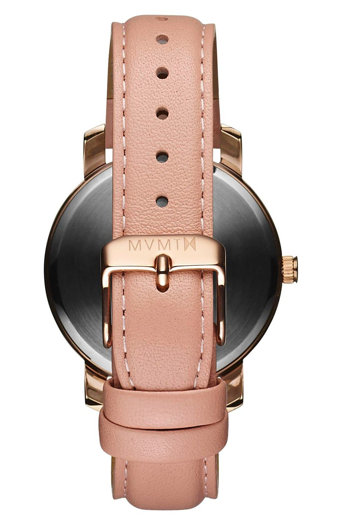 Leather Strap Watch, 38mm,                             Alternate thumbnail 2, color,                             PEACH/ WHITE