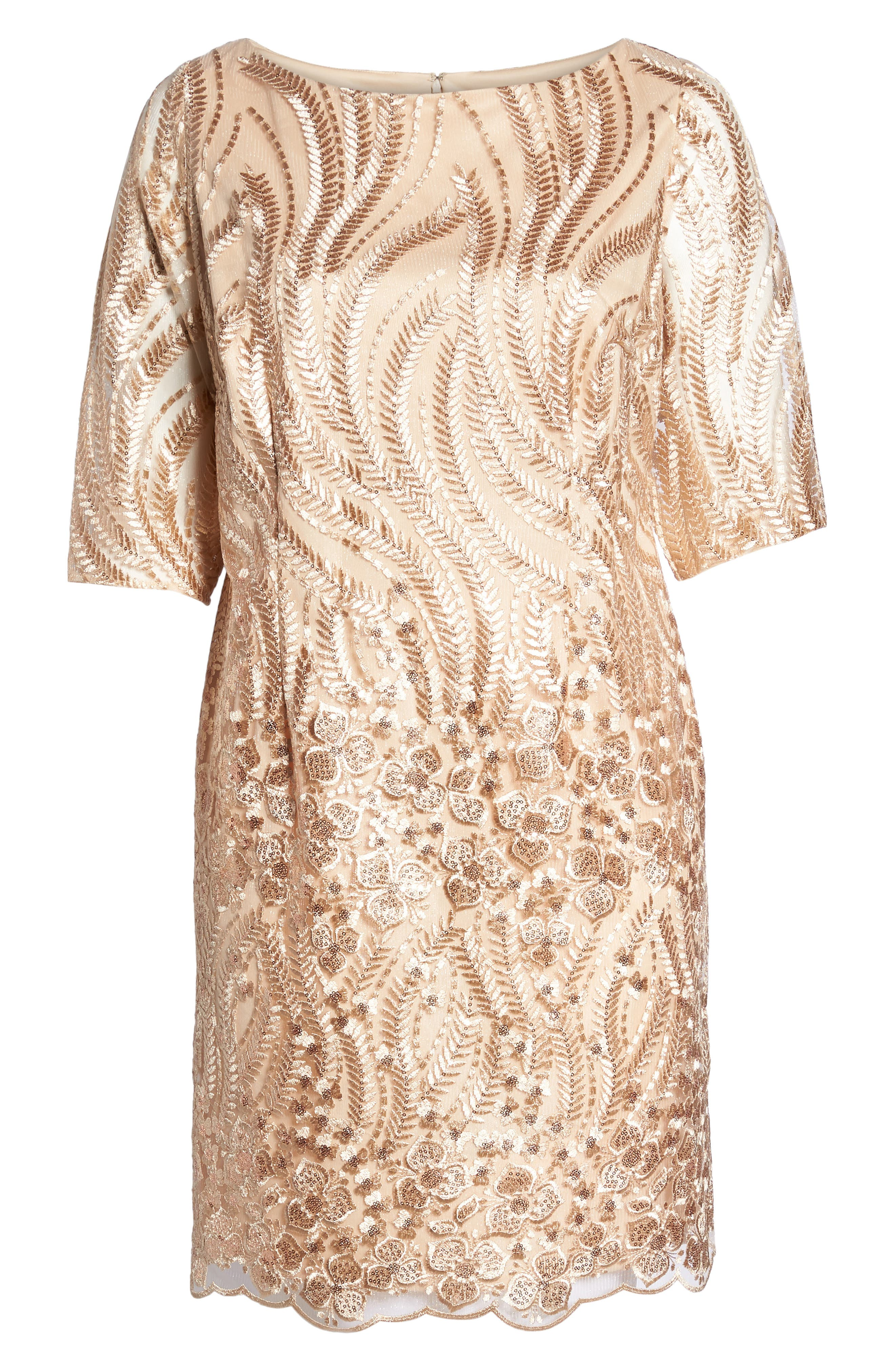 Sequin Embroidered Lace Sheath Dress,                             Alternate thumbnail 6, color,                             CHAMPAGNE