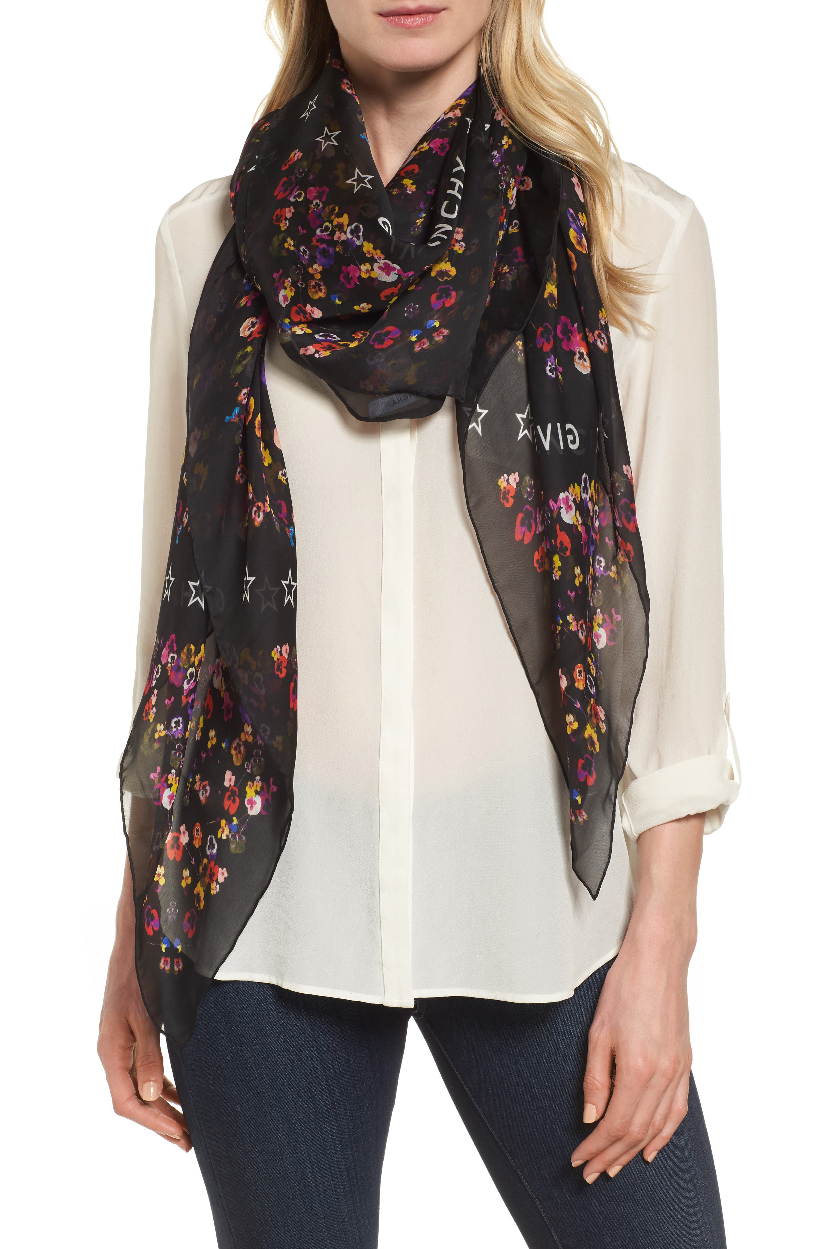 Wild Pansy Silk Scarf,                         Main,                         color, 001